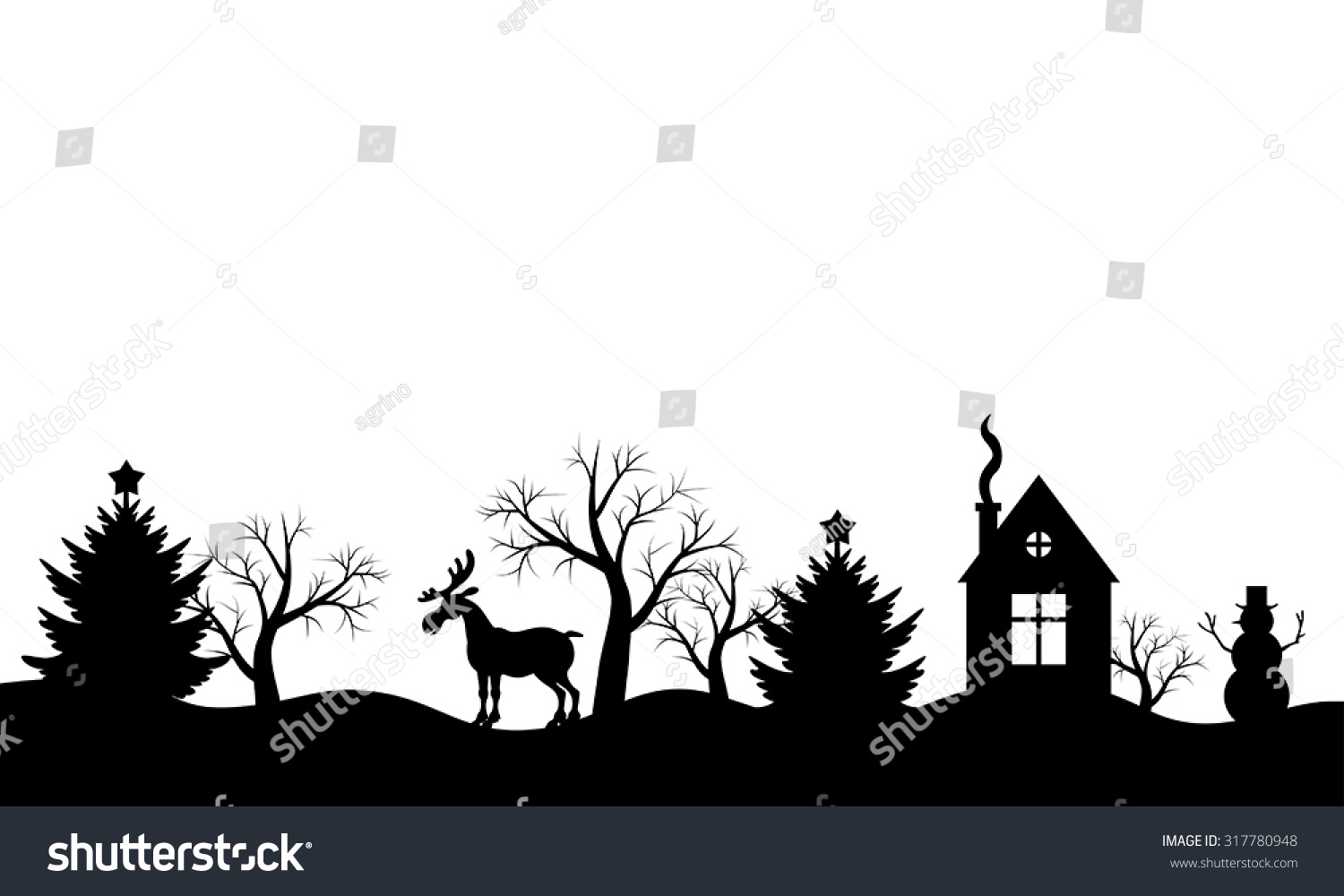 Vector Illustrations Christmas Silhouette Winter Landscape ...