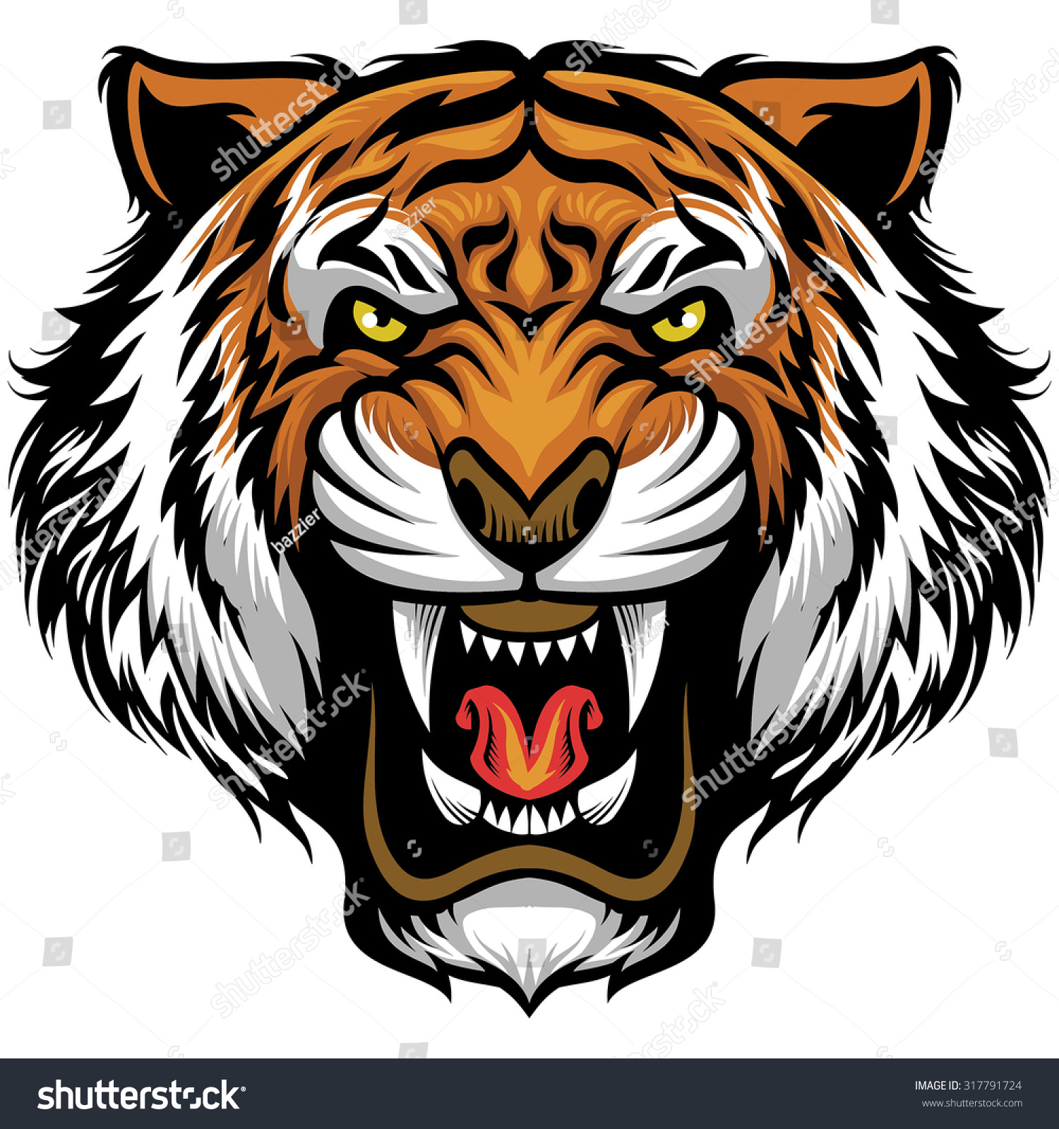 Angry Tiger Face Stock Vector Illustration 317791724