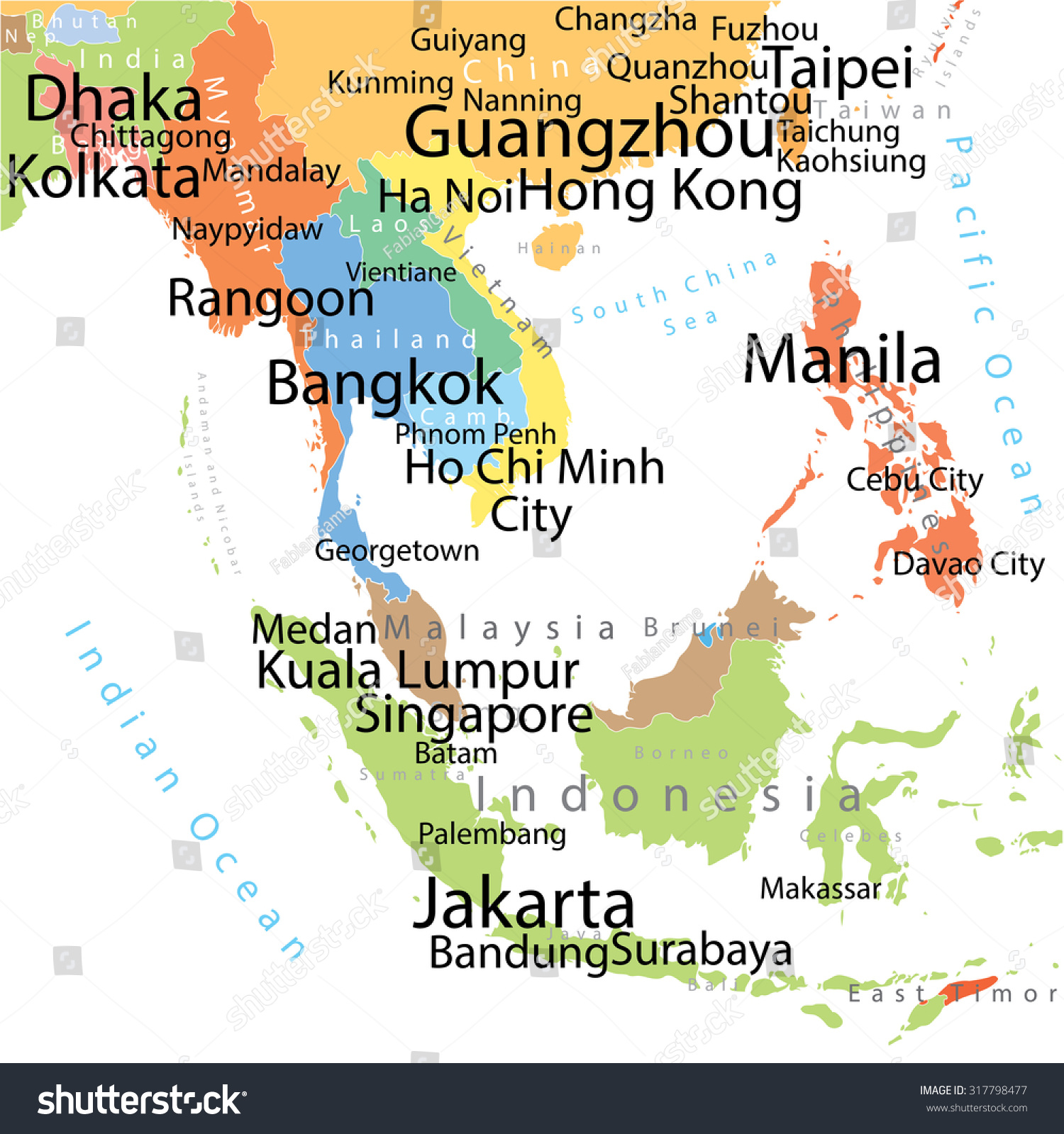 south asia vector map with largest cities carefully scaled text by city population
