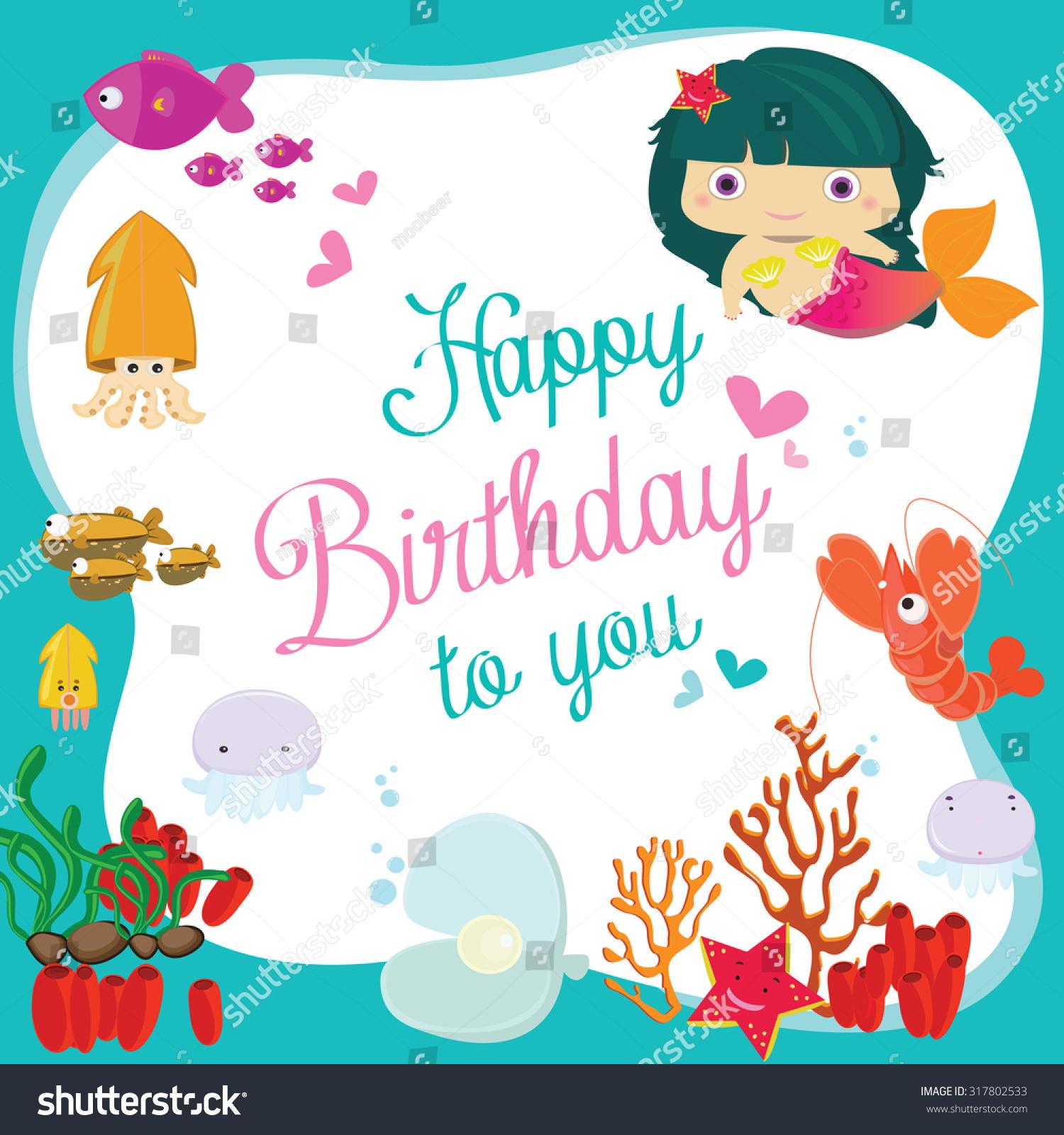 Vector Illustration Happy Birthday Greeting Cardunderwater Stock