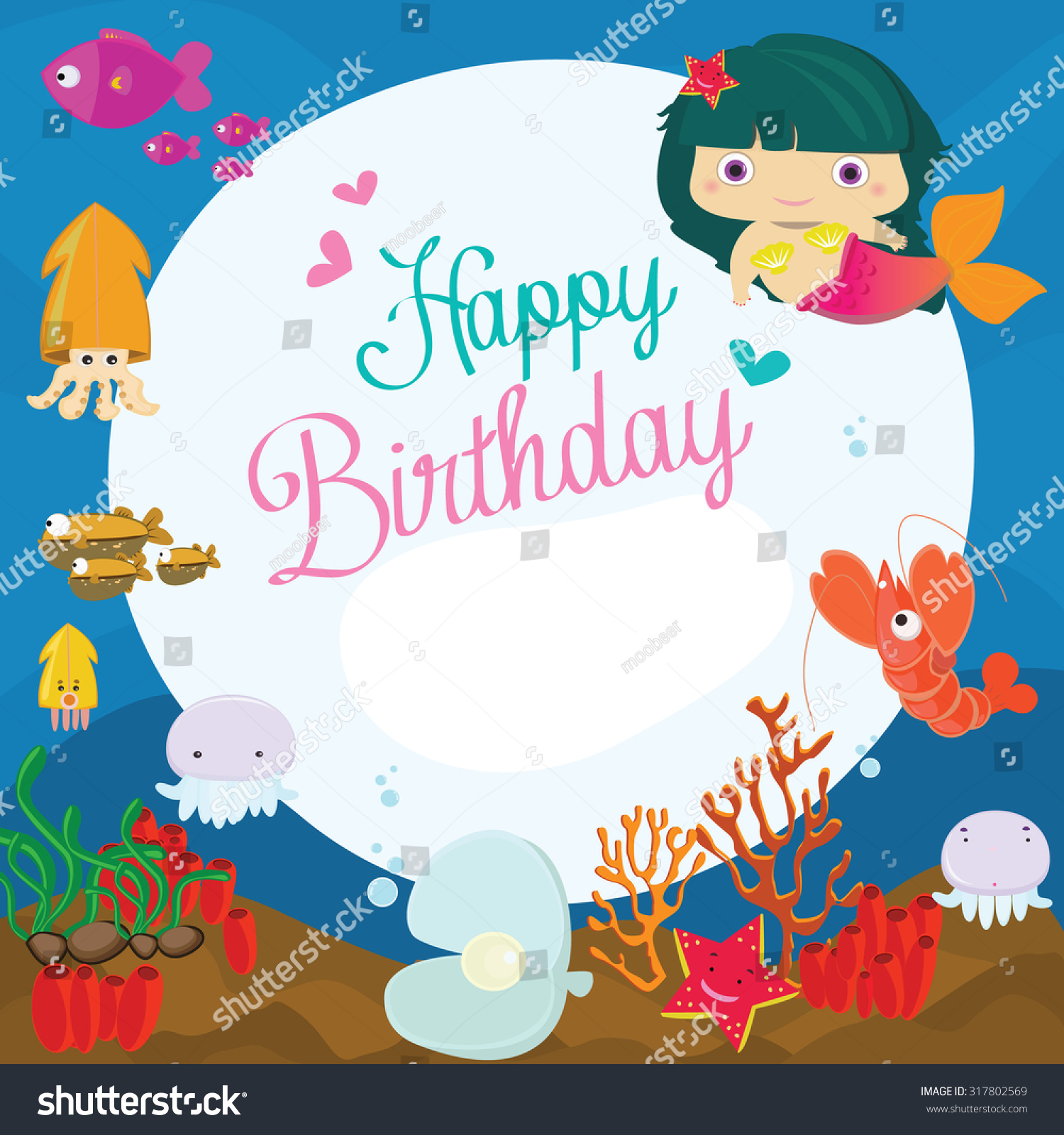 Vector Illustration Happy Birthday Greeting Cardunderwater Stock