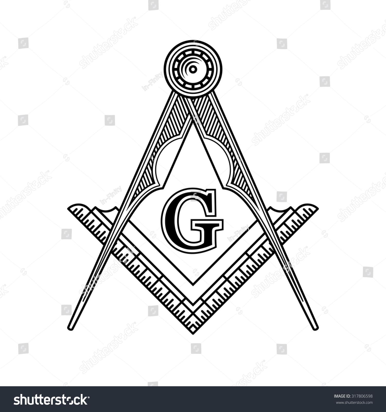 Masonic Freemasonry Emblem Icon Logo Vector Stock Vector