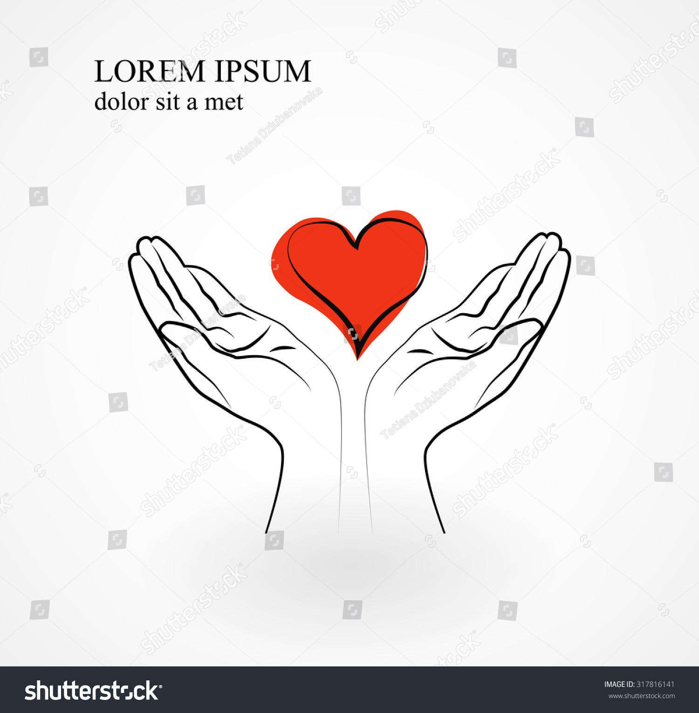 Red Heart Hands Symbol Love Gratitude Stock Vector Royalty Free