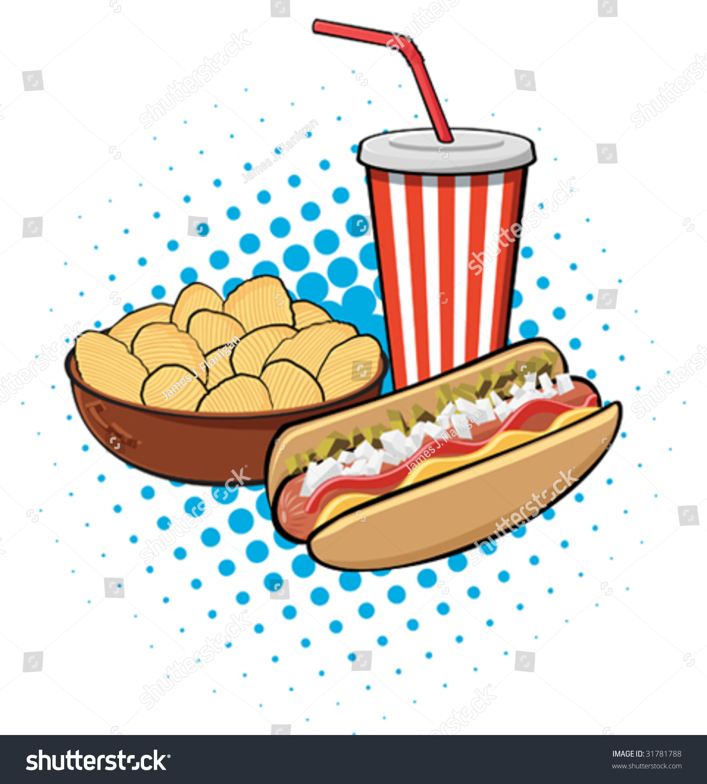 Hotdog And Chips Clipart Illustration Of Hot Do...