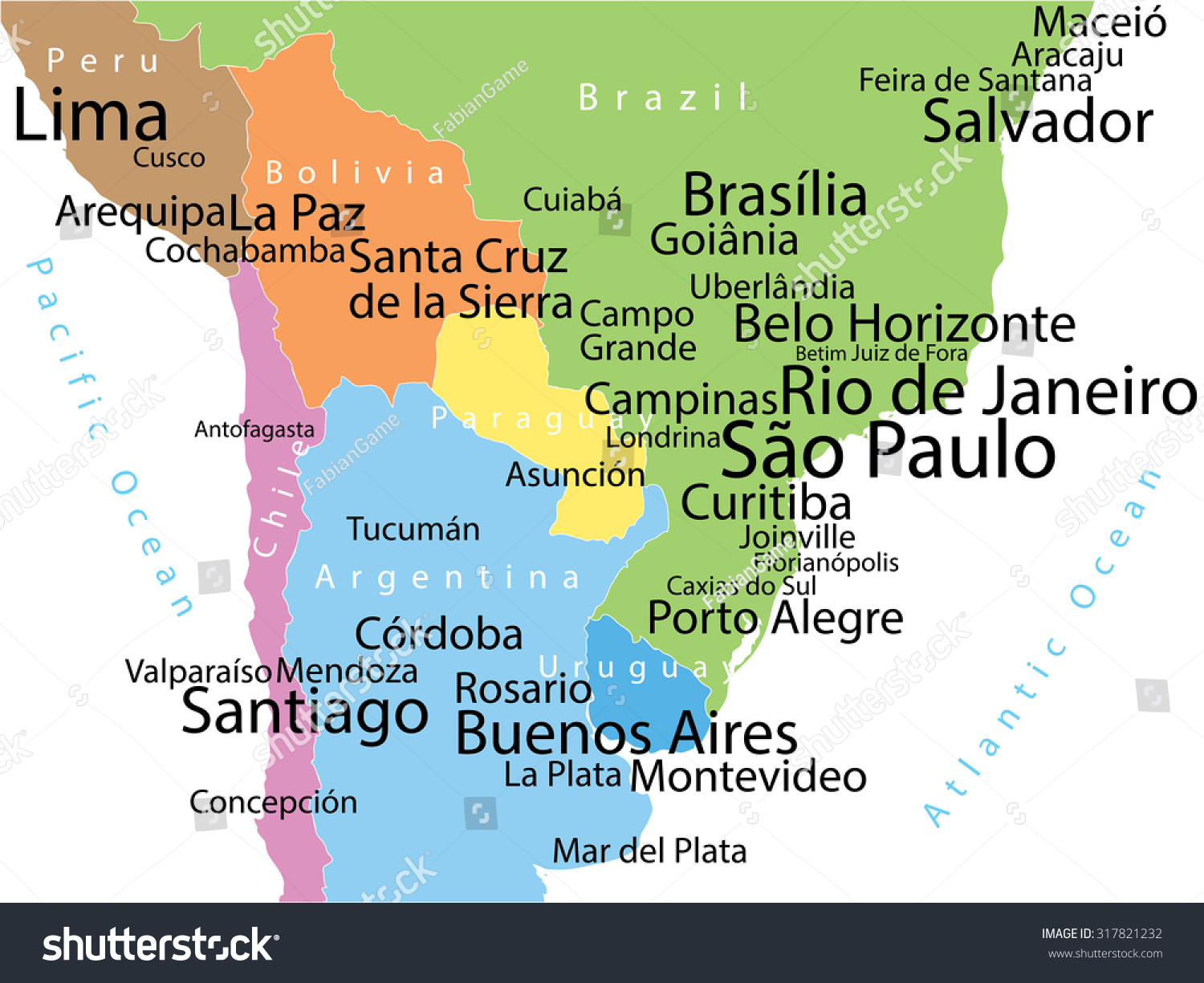 Vector Map South America Largest Cities Stock Vector (Royalty Free ...