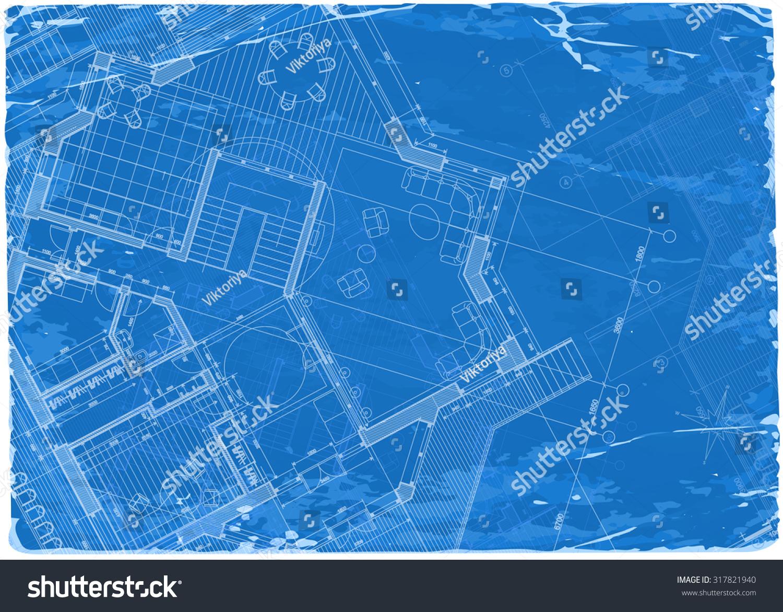 Architecture blueprint 3d house plan vector stock vector for Blueprint architects