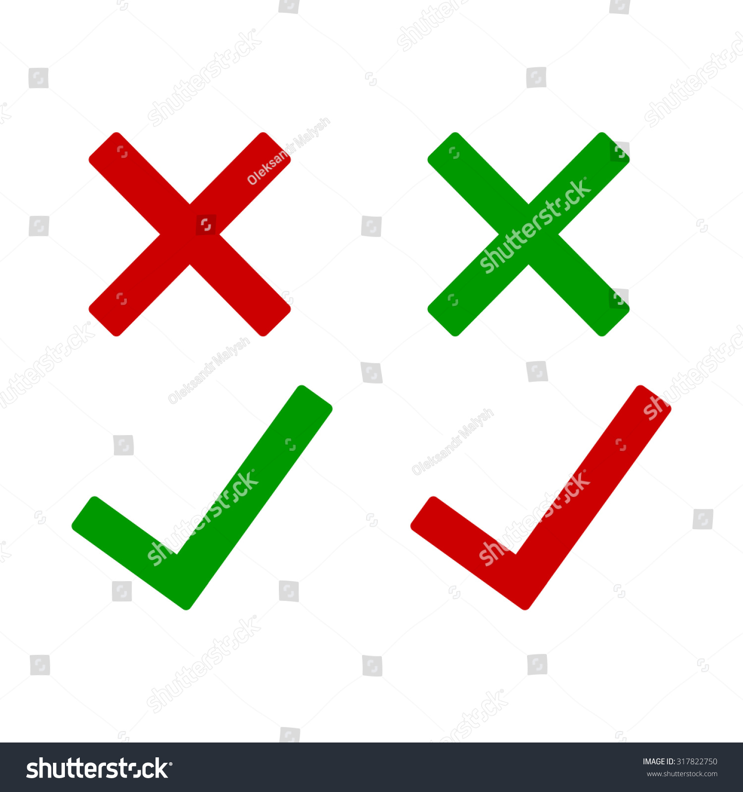 Tick Cross Icons Yes No Symbols Stock Vector Royalty Free