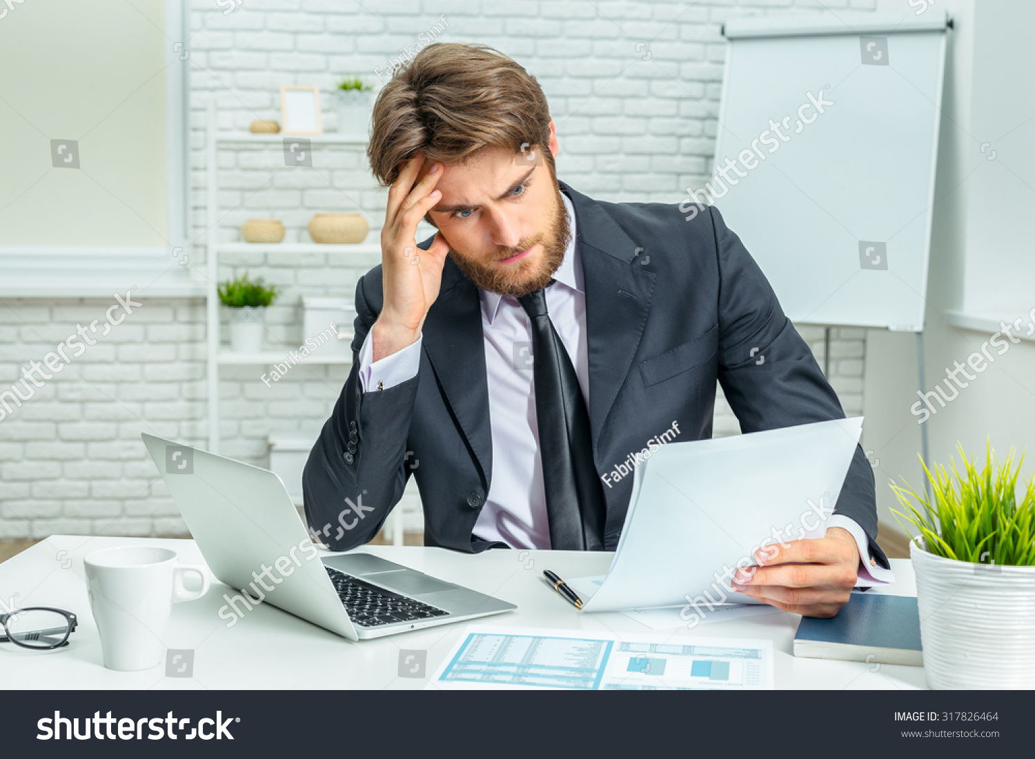 Tired Businessman Work Office Stock Photo Edit Now 317826464