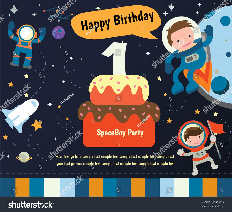 Happy birthday invitation card design spaceman stock vector happy birthday invitation card design spaceman and planet stopboris Gallery
