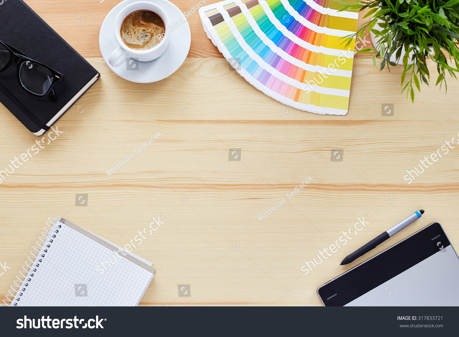 Top view of the table graphic designer stock photo for Table graphic design