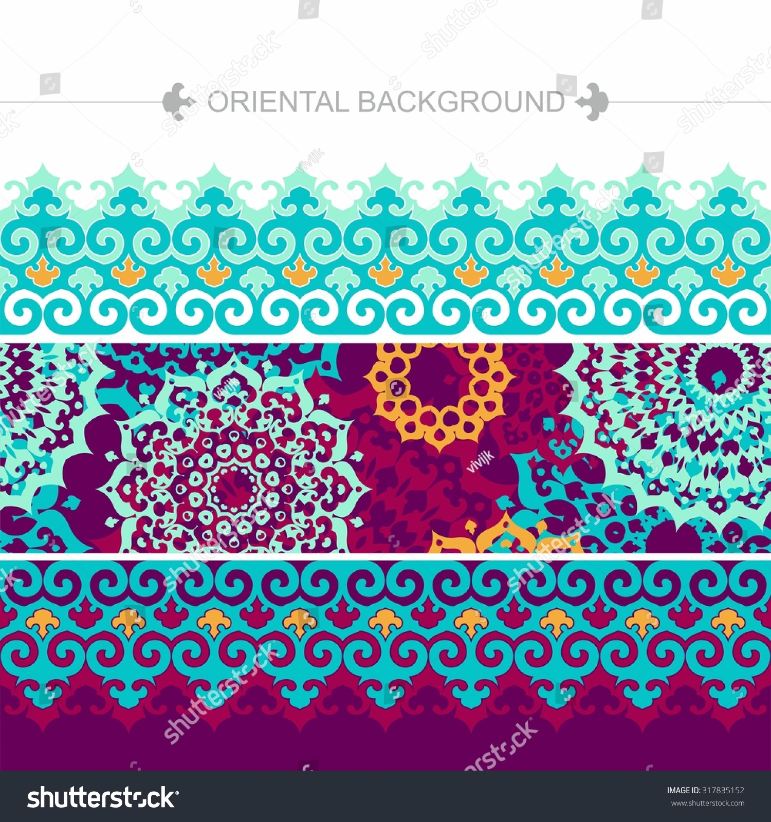 Bright colorful background with ornamental elements in oriental style Islam Arabic motifs Mandala forms Seamless border
