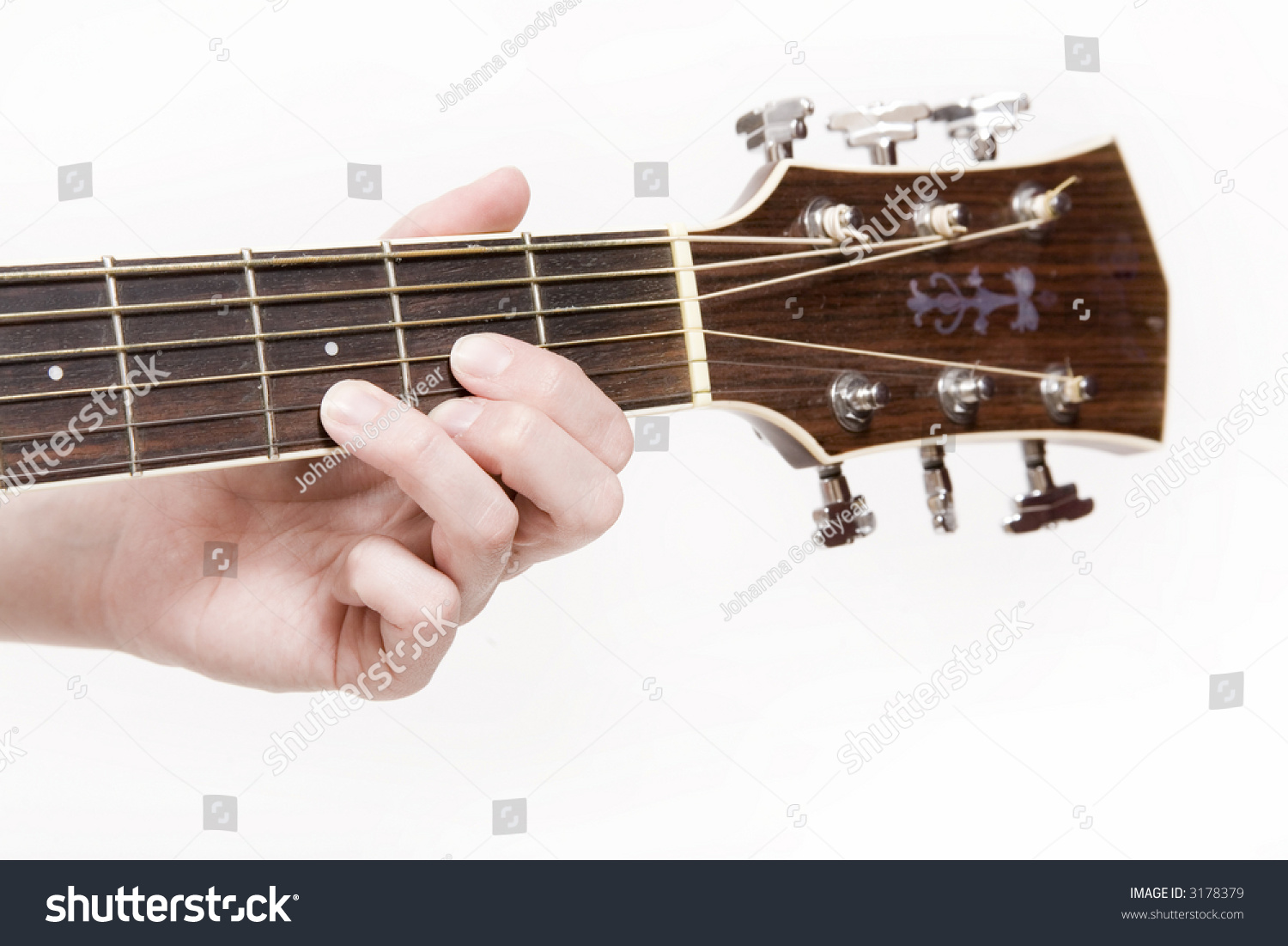 Young Woman Playing Chord On Acoustic Stock Photo Royalty Free