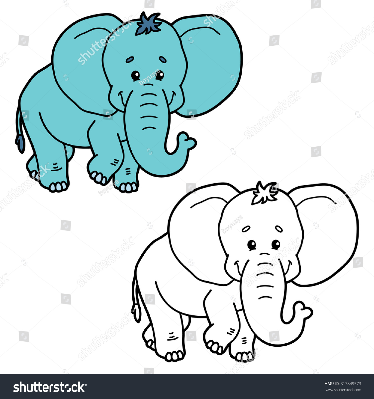 Funny Elephant Vector Illustration Coloring Page Stock Vector ...