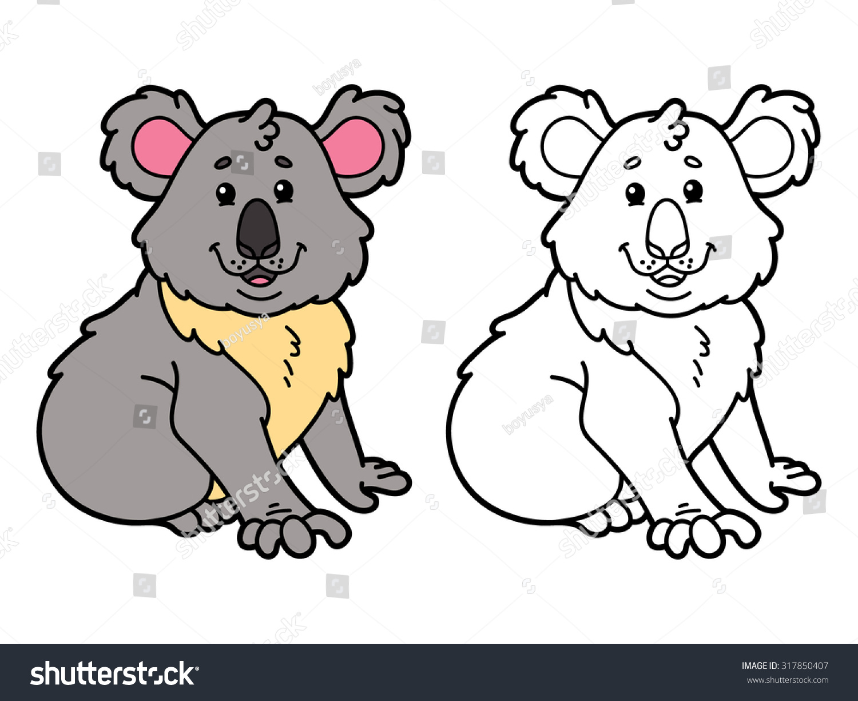 funny koala vector illustration coloring page stock vector