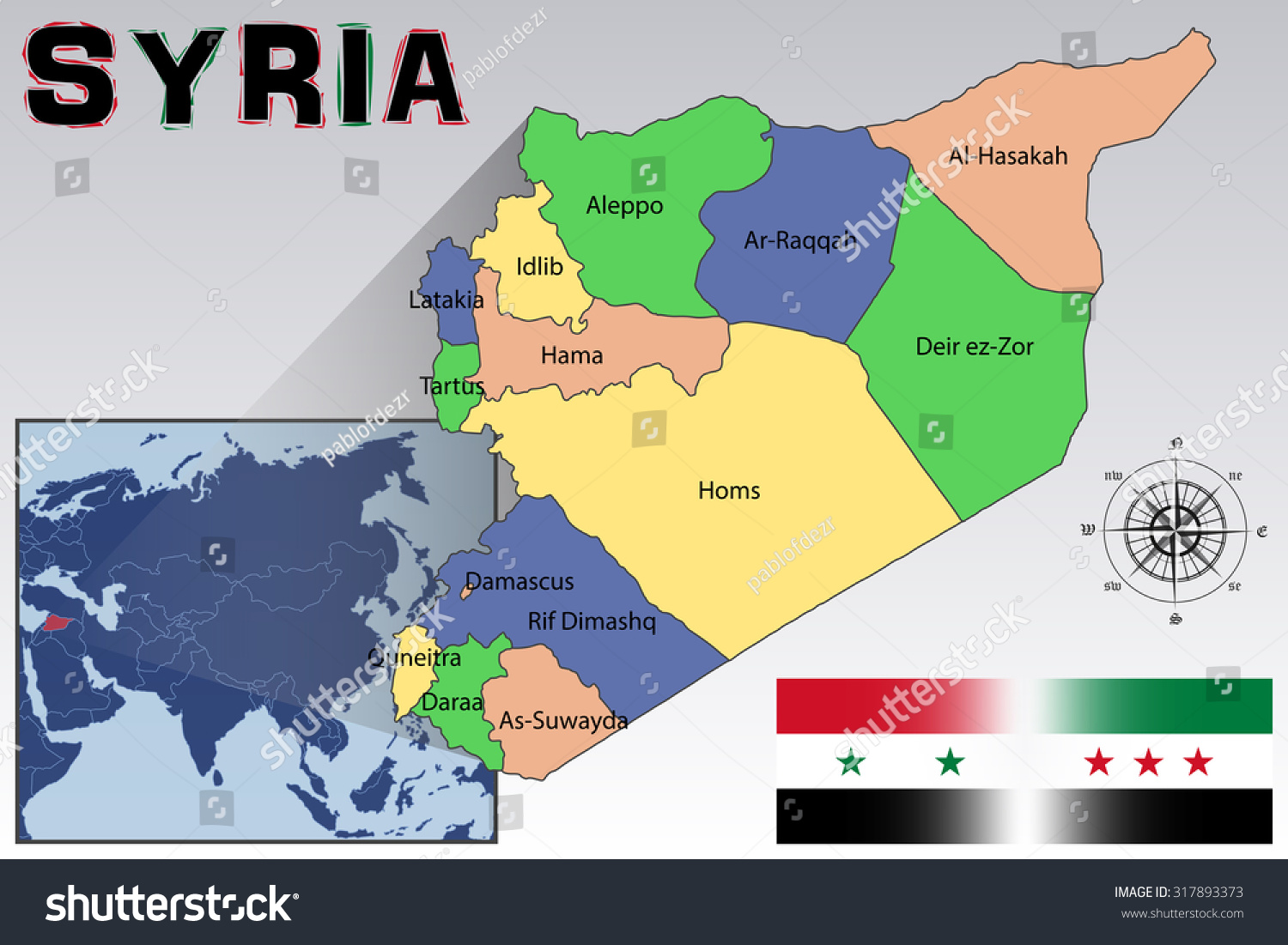 Map Flag Location Syria Stock Vector Shutterstock - Where is syria located on the map