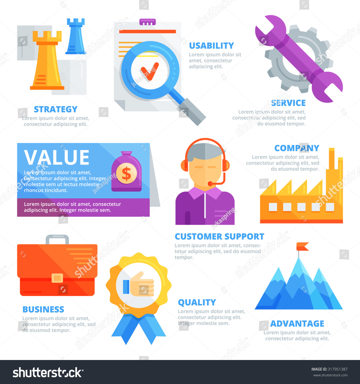 Flat design elements value strategy usability stock vector for Strategic design company