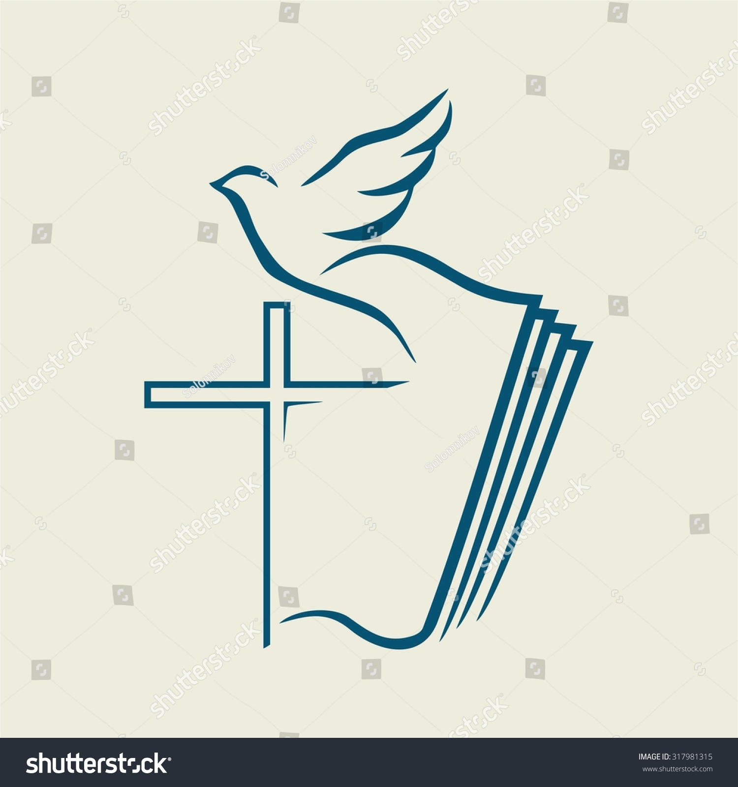 Cross And Dove And Bible