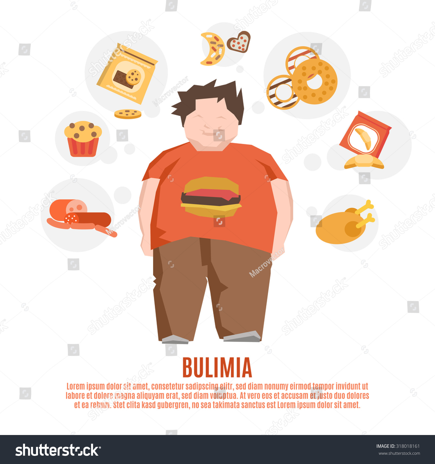 Bulimia support group concept with fat young man and unhealthy food flat  illustration