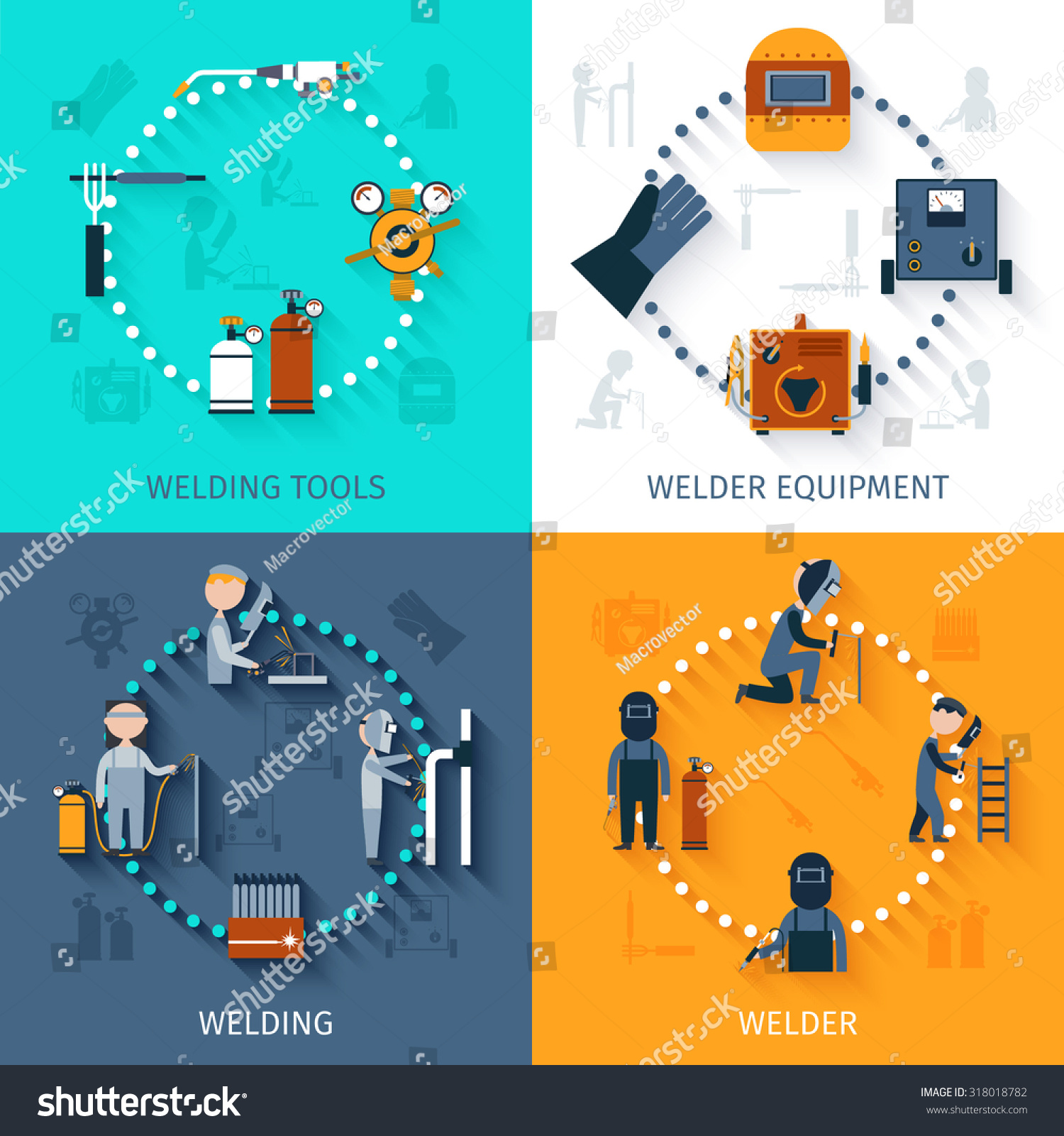 Welder Design Concept Set Welding Tools Stock Illustration 318018782 Diagram Of With And Equipment Flat Icons Isolated
