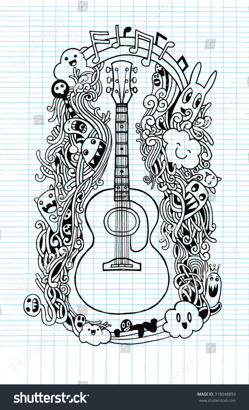 Hand Drawing Doodle Acoustic Guitar Flat Designdrawing Stock Vector