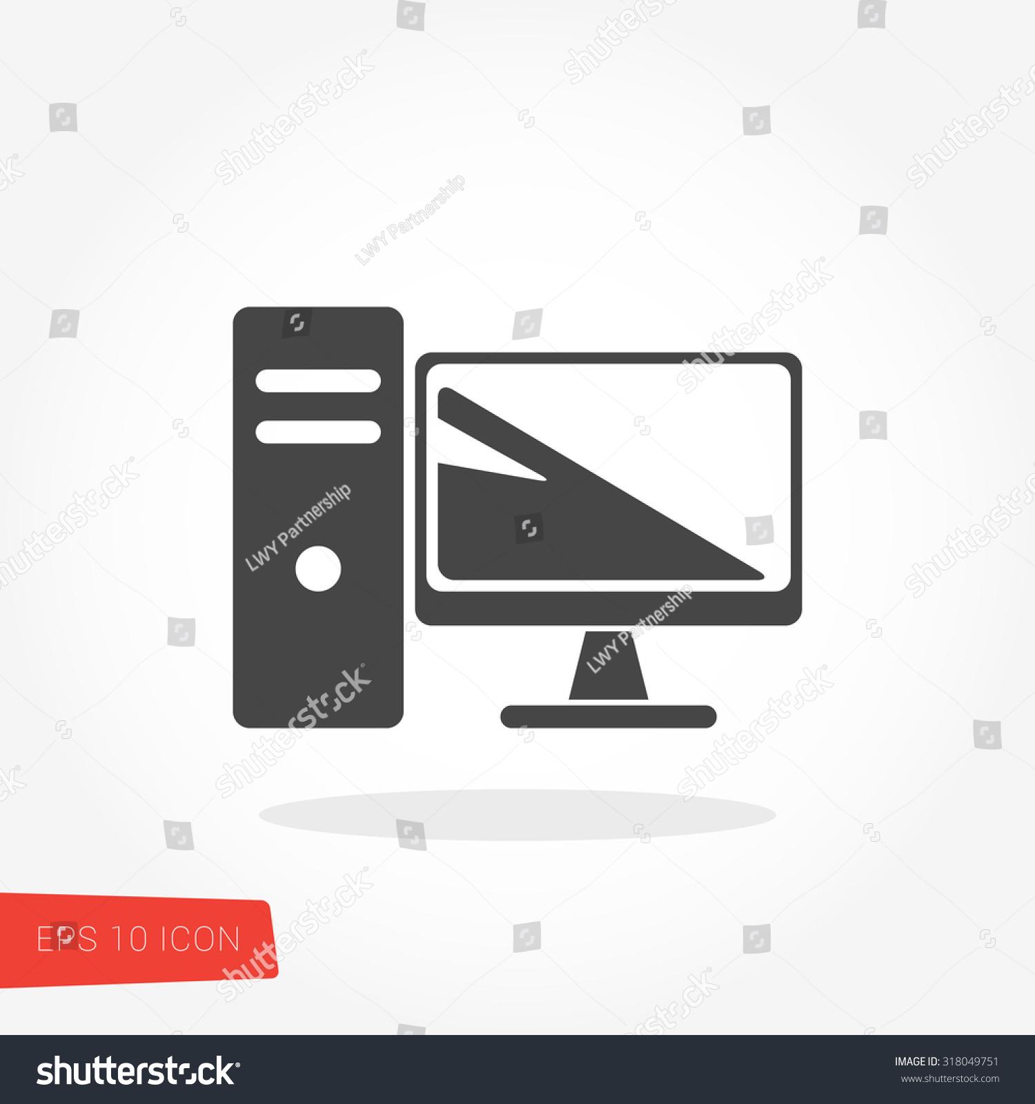 Computer Desktop Pc Isolated Flat Web Stock Photo Photo Vector