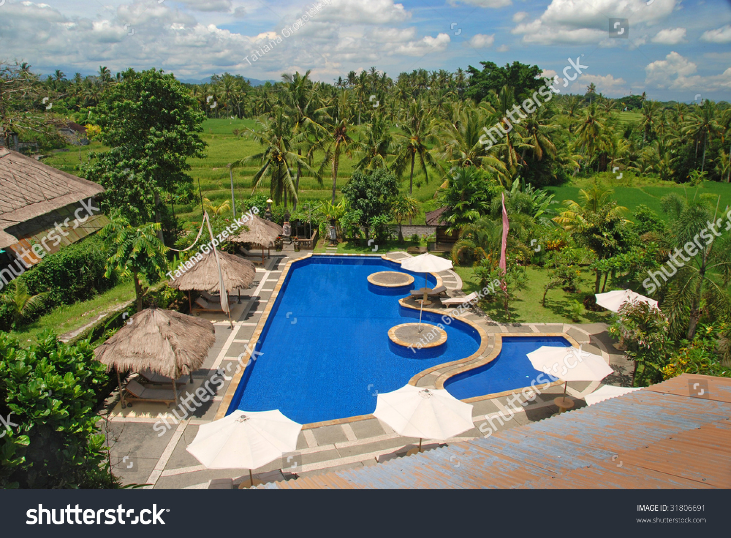 Swimming Pool Near Hotel Bali Indonesia Stock Photo 31806691 Shutterstock