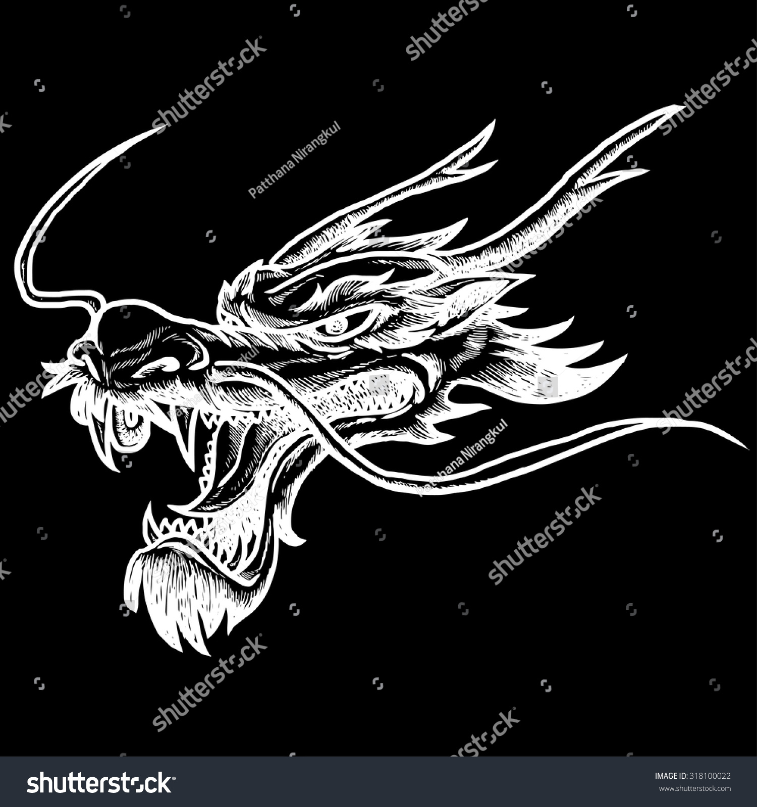 Chinese dragon head hand draw white stock vector 318100022 chinese dragon head hand draw white on black background ccuart Images