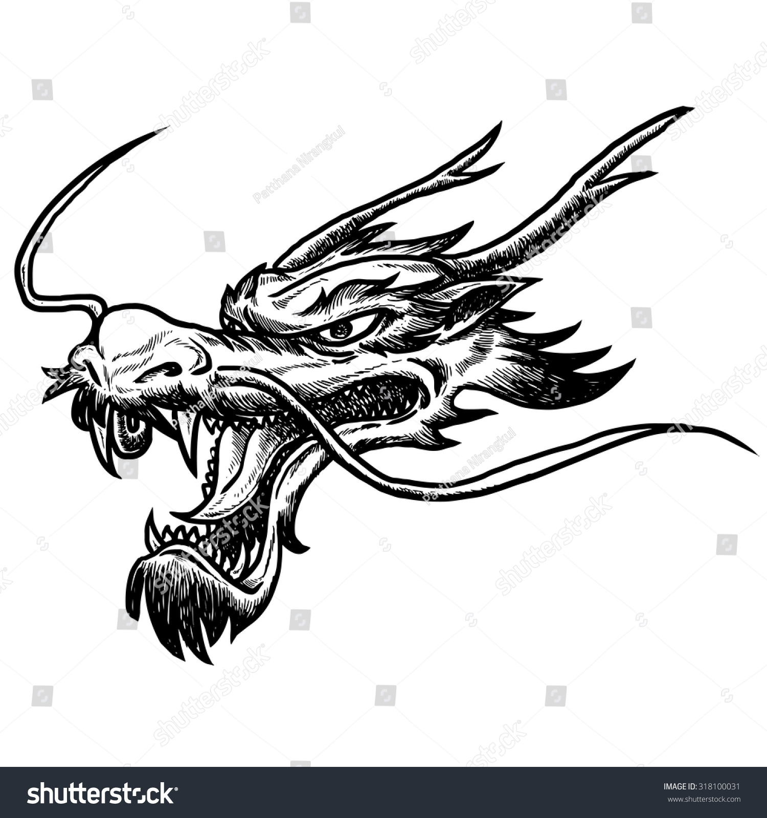 Chinese dragon head hand draw monochrome stock vector 318100031 chinese dragon head hand draw monochrome on white background ccuart Images