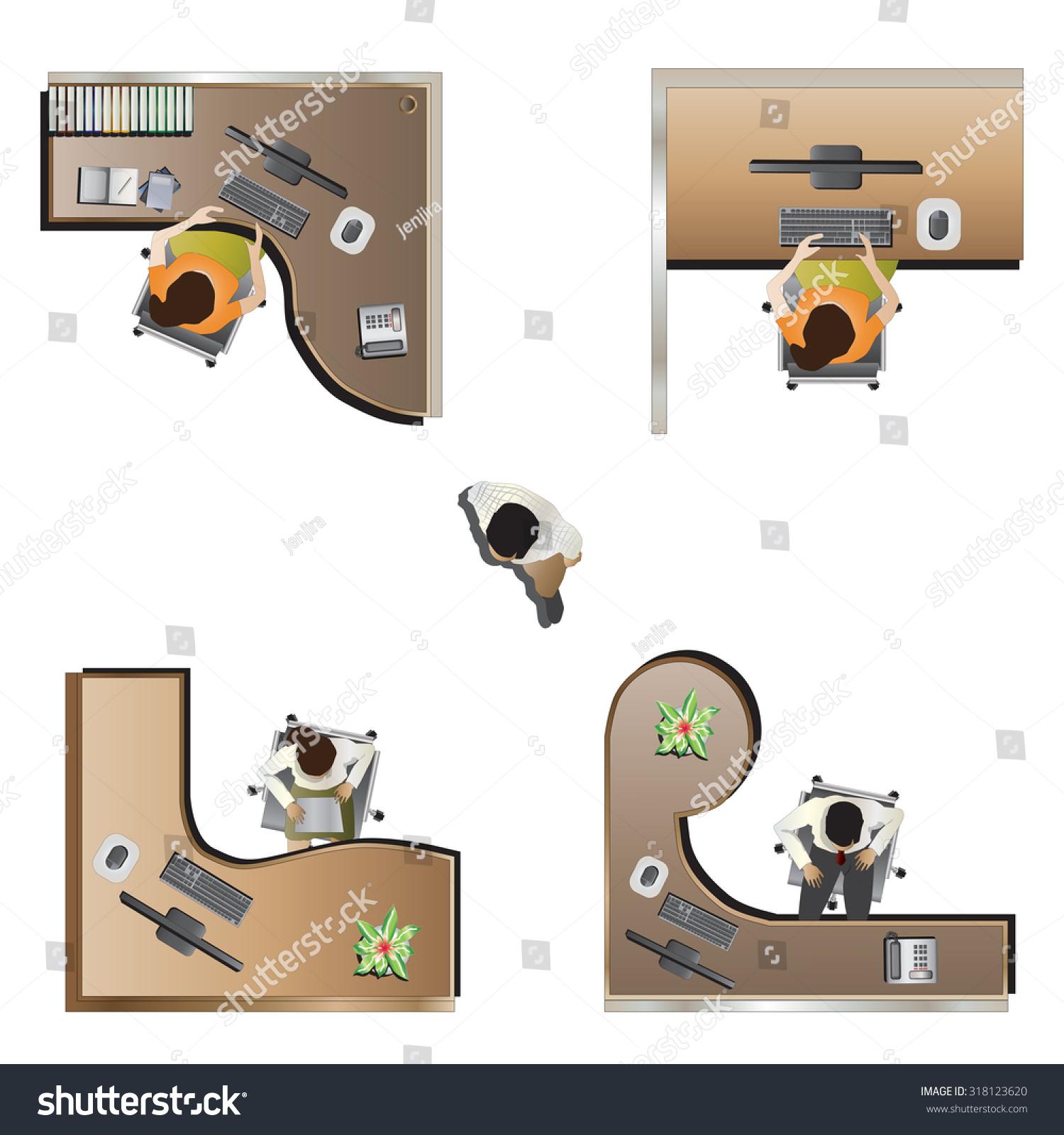 Office furniture top view - Office Furniture Top View Set 9 For Interior Vector Illustration