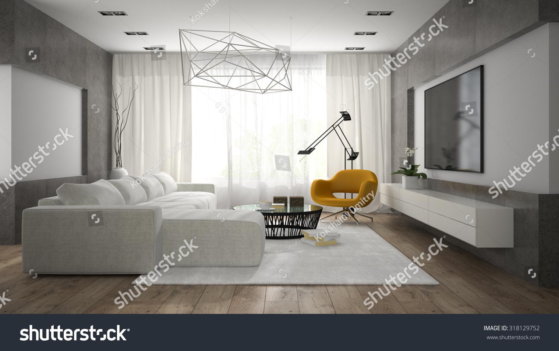 Interior Of Stylish Modern Room With Grey Sofa 3d