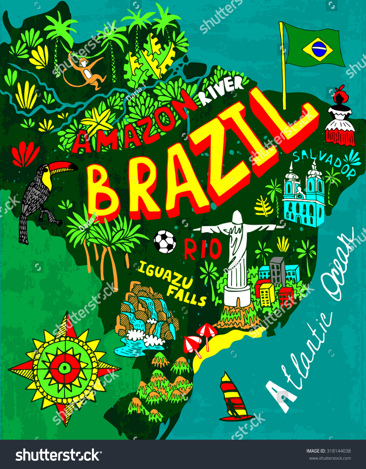 Illustrated Map Brazil Stock Vector Shutterstock - Brazil map illustration