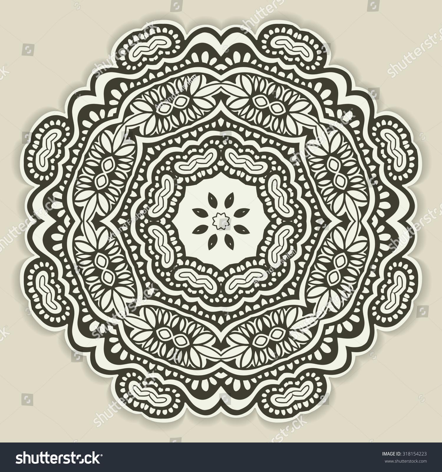 mandala geometric round ornament cut out stock vector 318154223