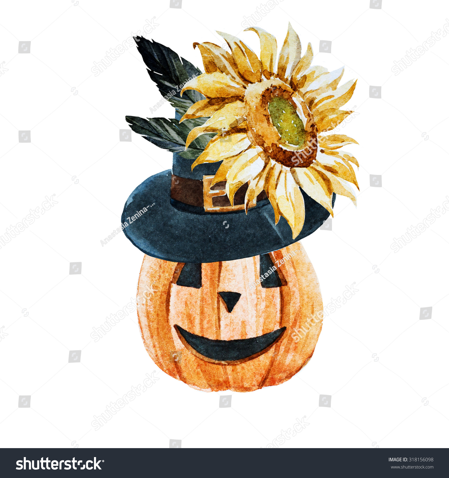 Watercolor drawing isolated halloween funny pumpkin in for Funny pumpkin drawings