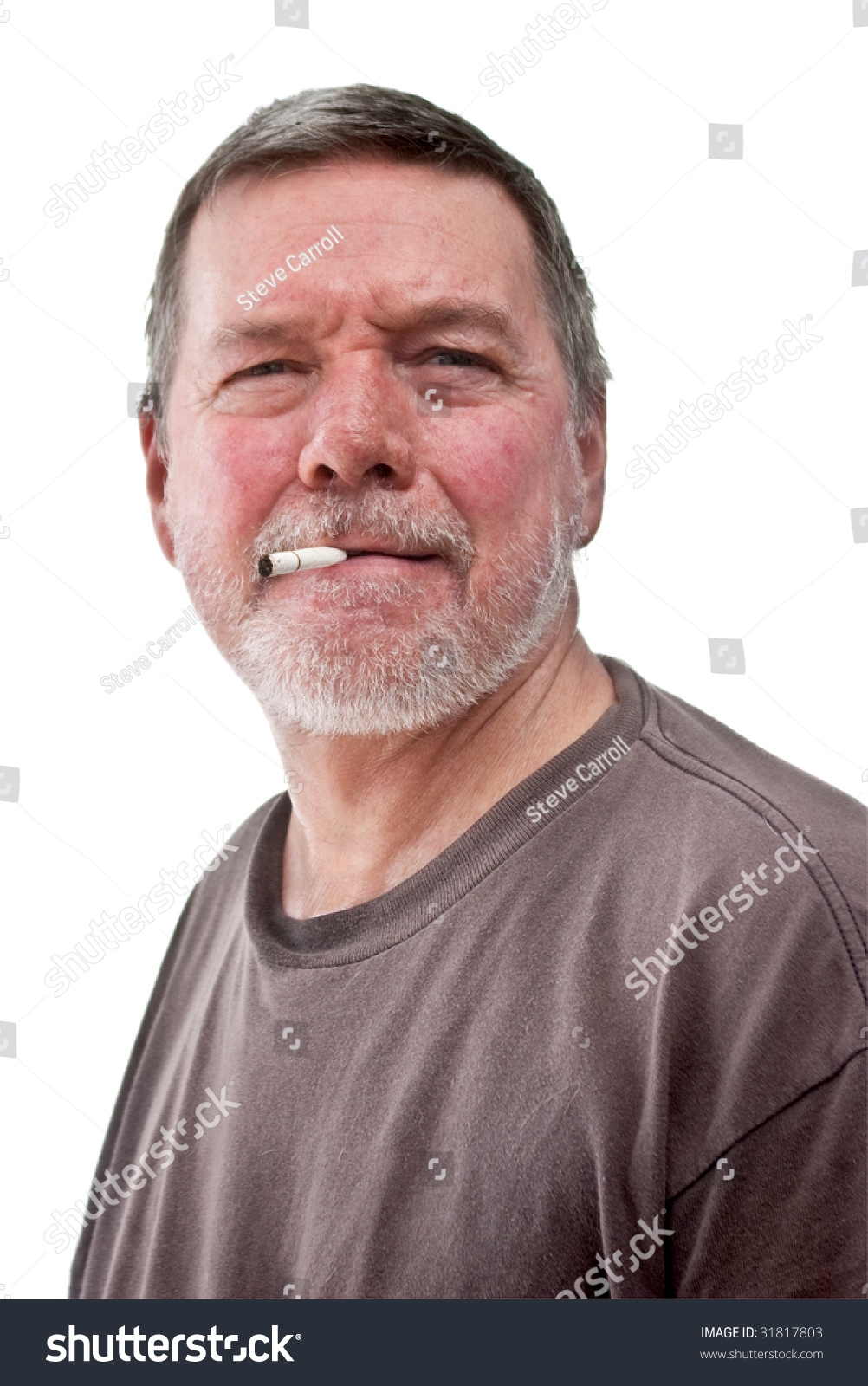 headshot mature homeless man cigarette butt stock photo (royalty