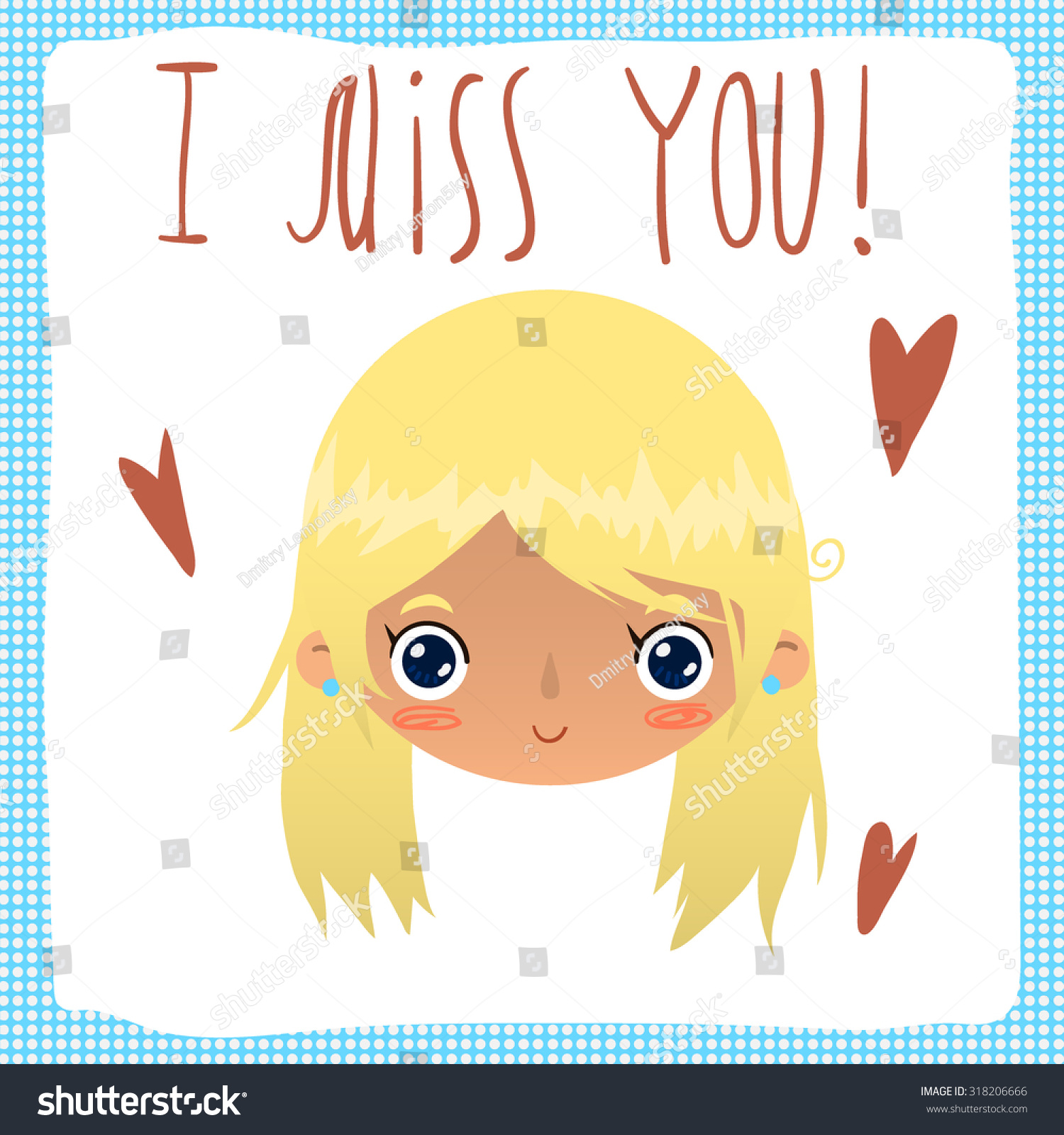 Vector cartoon miss you greeting card stock vector 318206666 vector cartoon i miss you greeting card for game presentation user interface tablet kristyandbryce Image collections