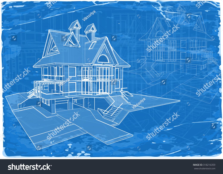 Architecture blueprint 3d house vector illustration vectores en architecture blueprint 3d house vector illustration eps10 malvernweather Choice Image