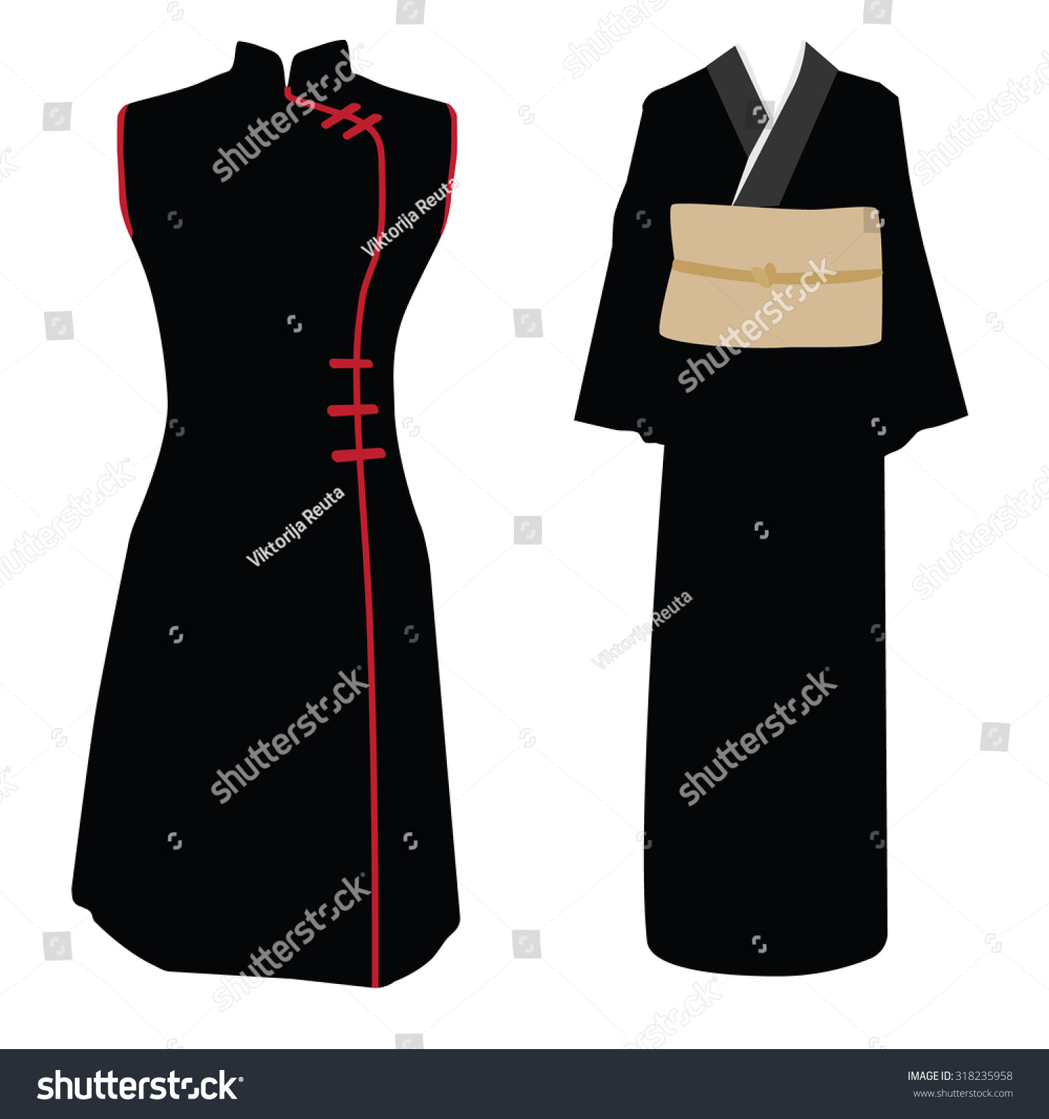 black and red woman traditional dress vector illustration. Black ...: www.shutterstock.com/pic-318235958/stock-vector-chinese-black-and...