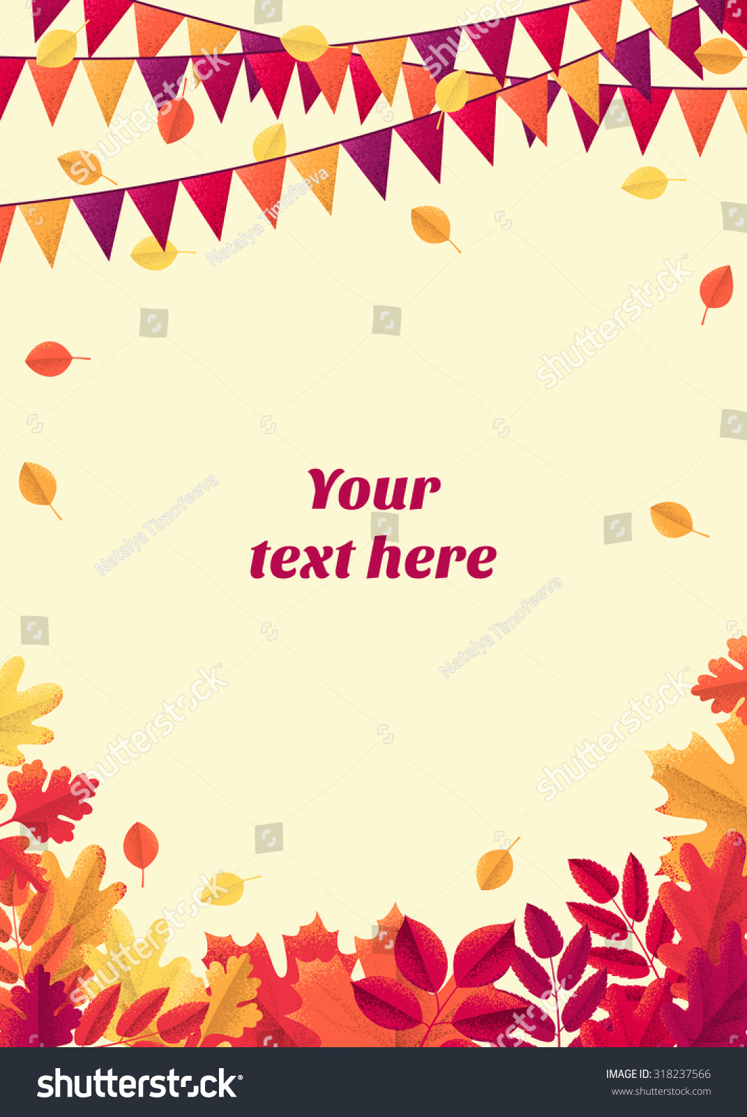 retro vector template colorful autumn leaves stock vector