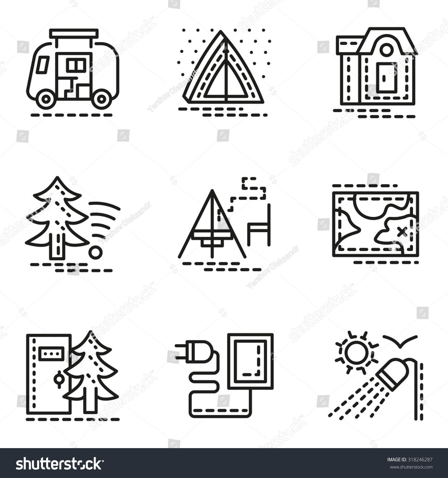 Symbols comfort camping flat line style stock vector 318246287 symbols of comfort camping flat line style vector icons set tent navigation biocorpaavc