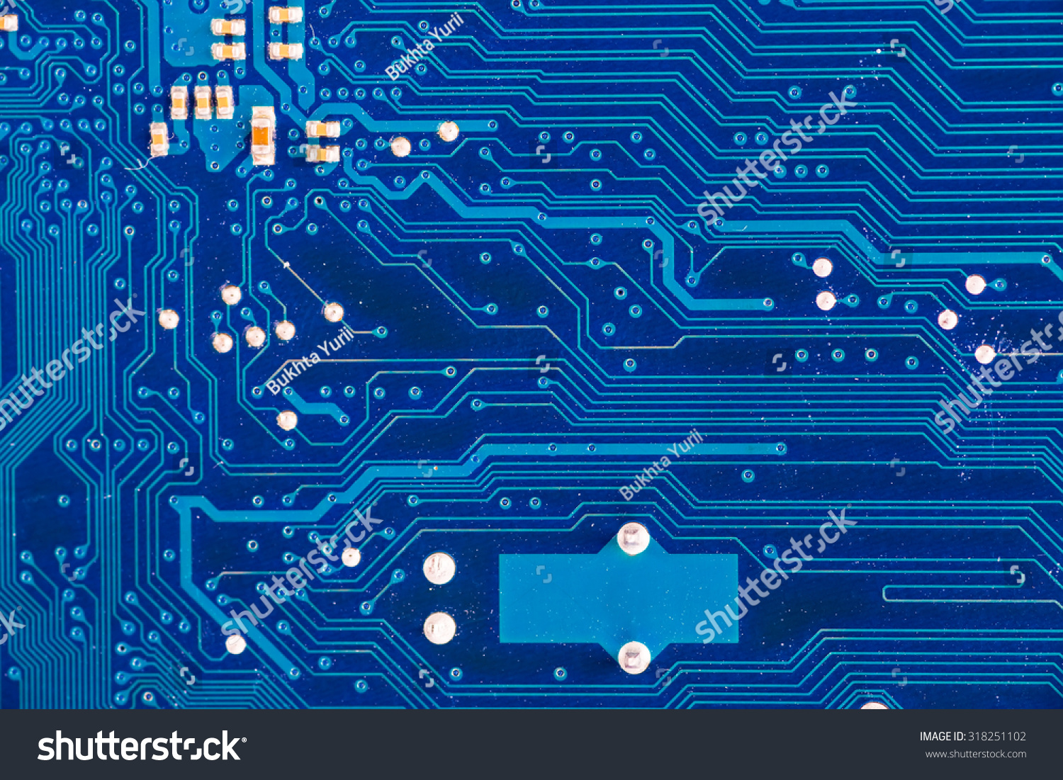 Closeup Of A Blue Computer Circuit Board Technological Background Abstract With Old Ez Canvas