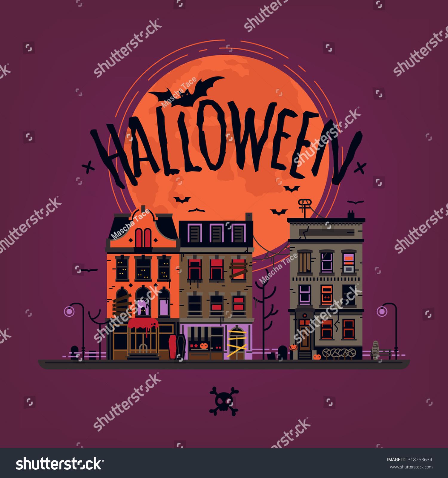 Spooky Halloween Vector Background Creepy Haunted Stock Vector