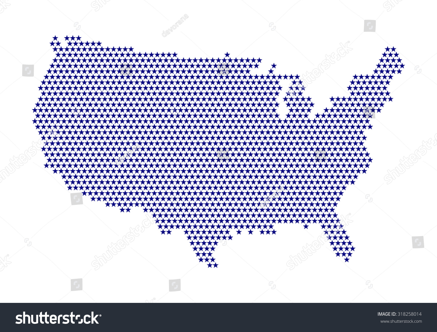 Digital Usa Map Stars Purple Color Stock Vector Royalty Free