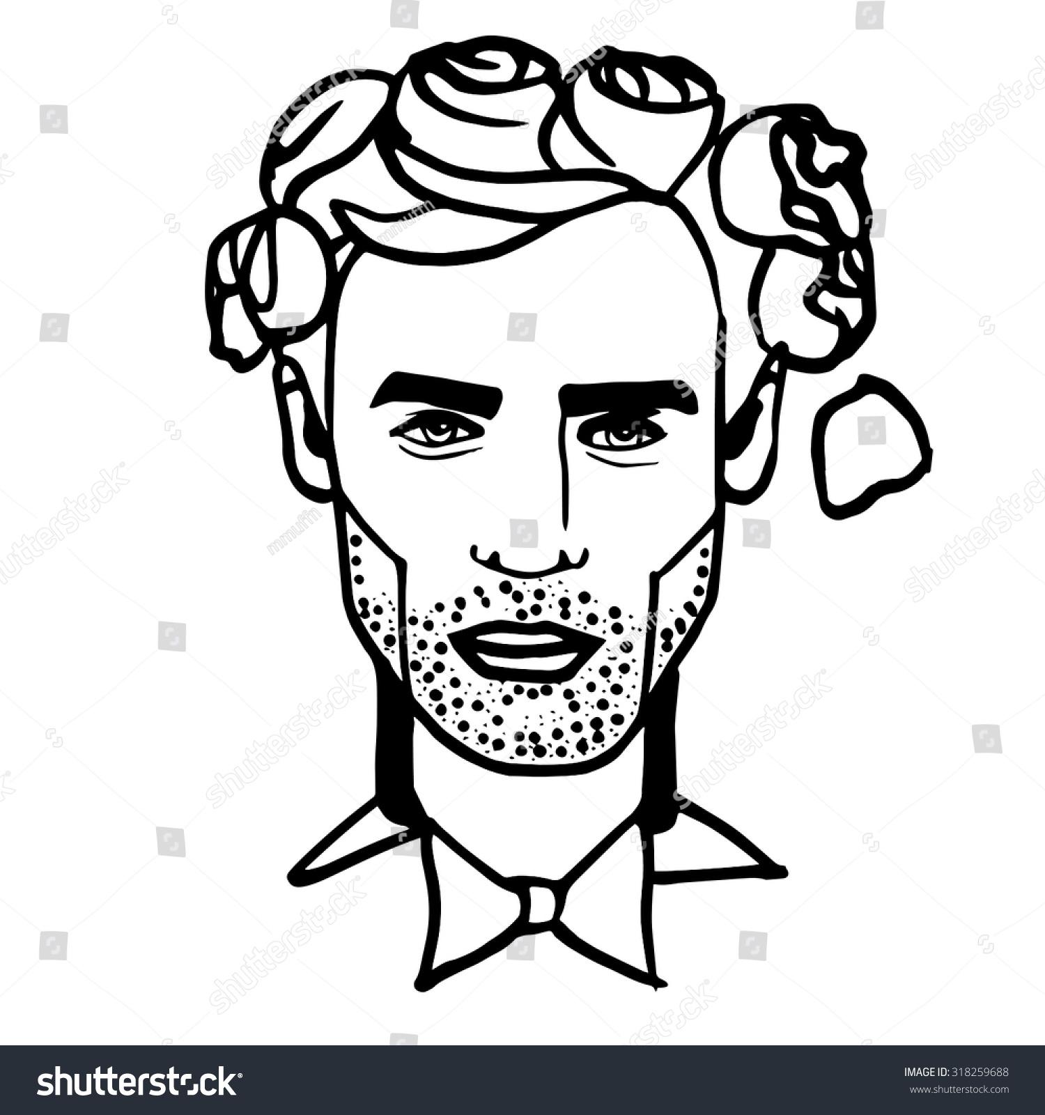 man face portrait portrait black white のベクター画像素材
