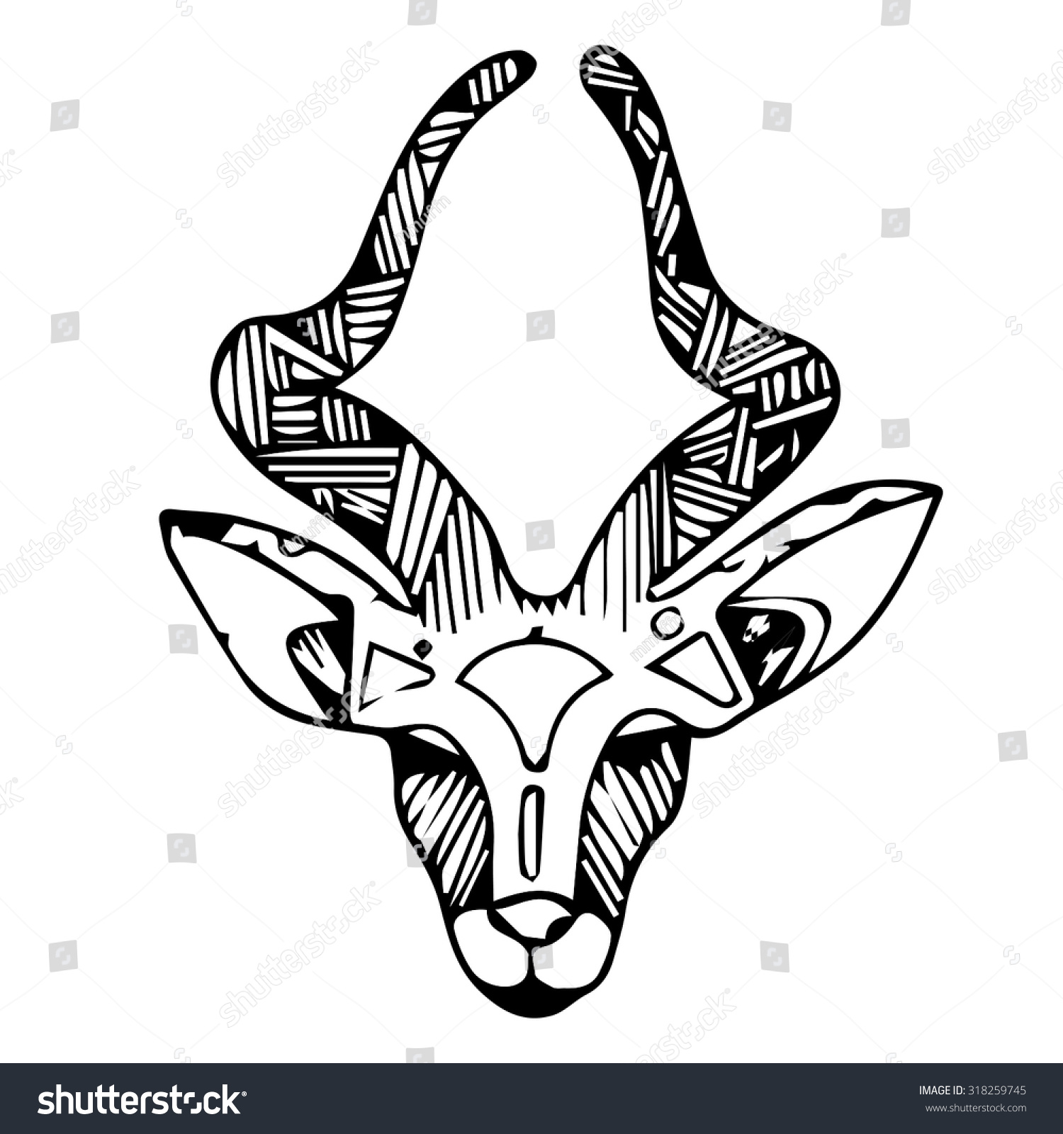 Drawing Lines With Core Graphics : Impala animal head drawing drawings art stock vector