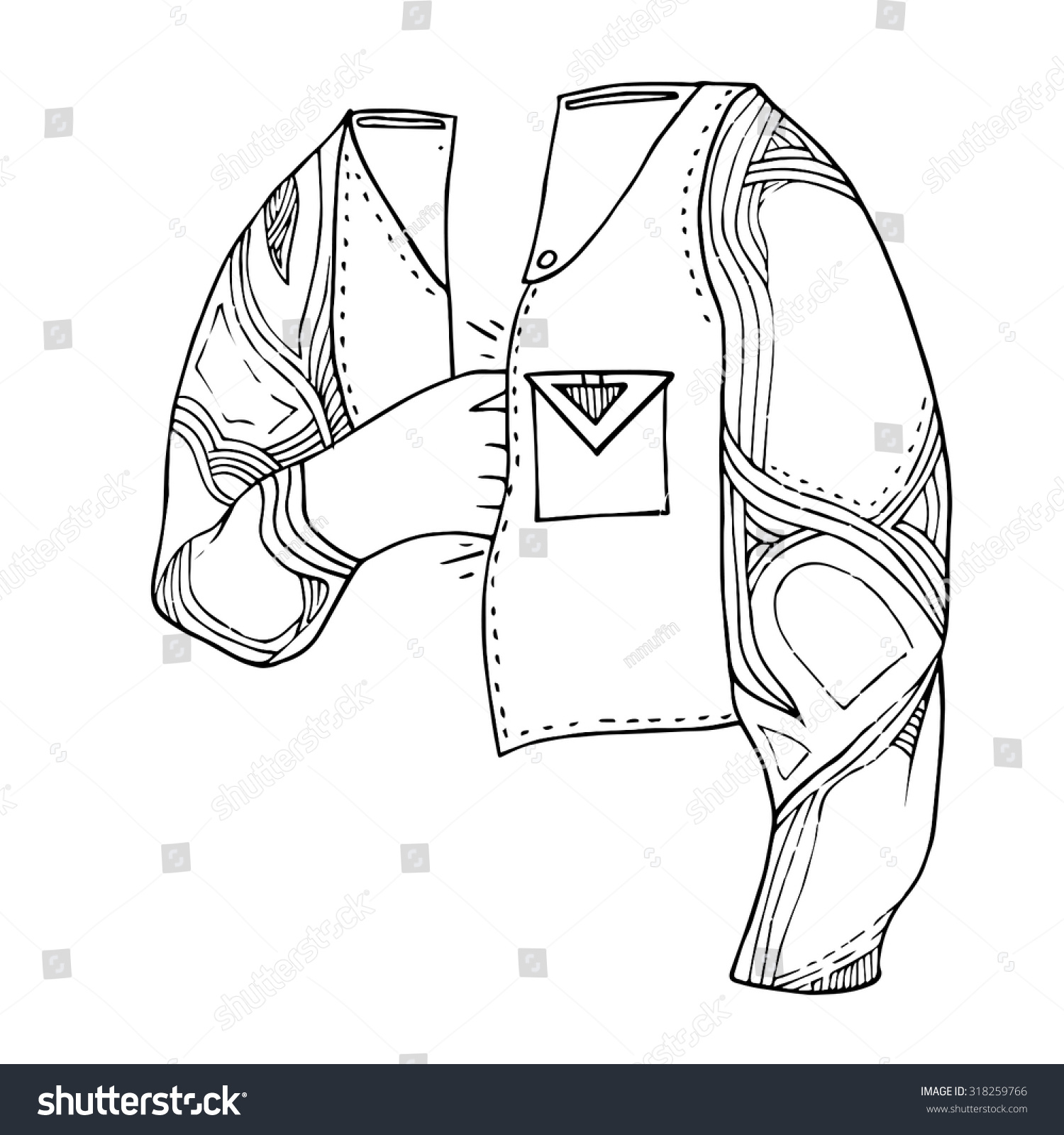 Drawing Lines In Photo Elements : Pocket hand jacket line lines artwork stock vector