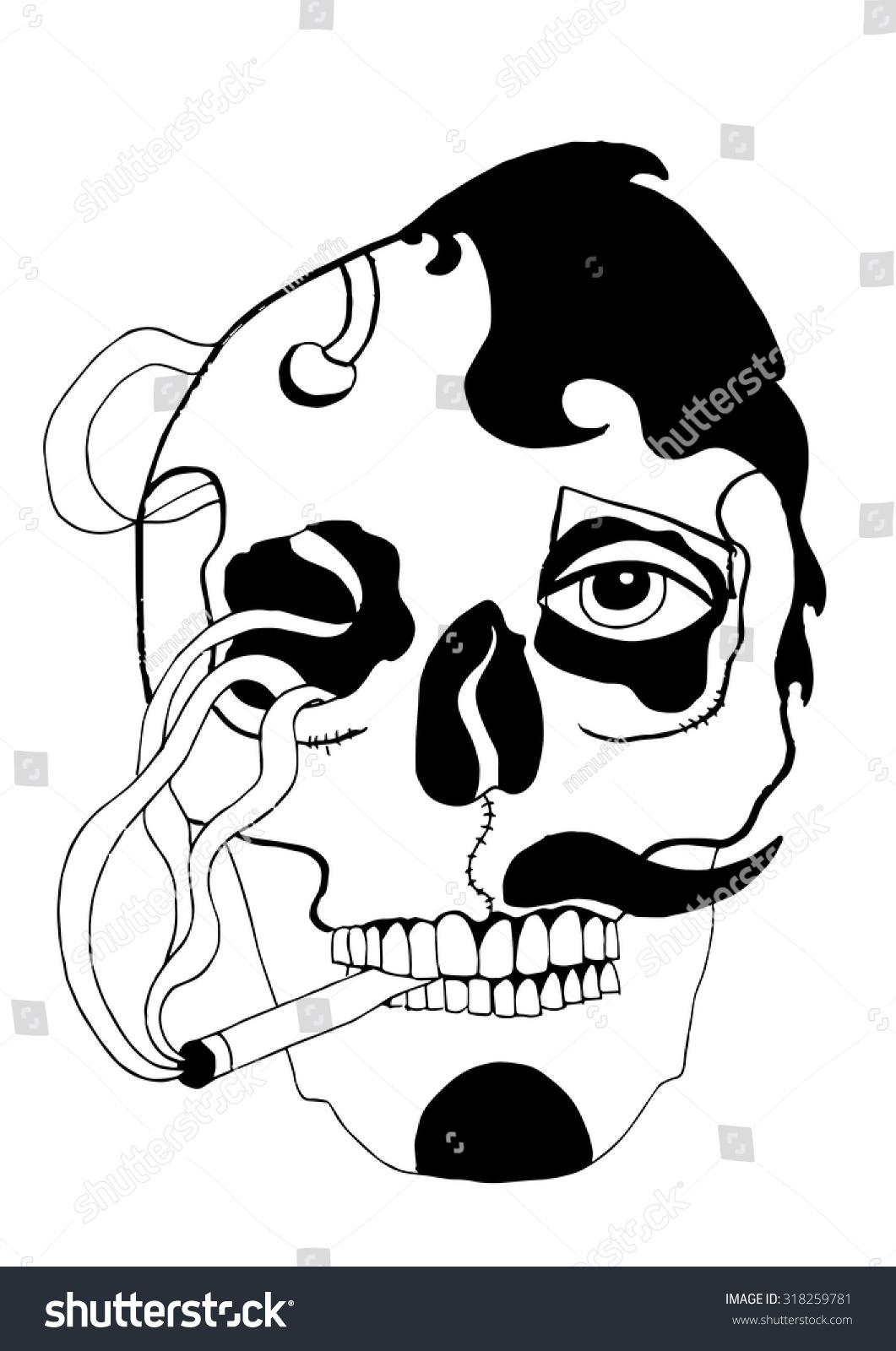 smoker smoking cigarette smoke skull man stock vector