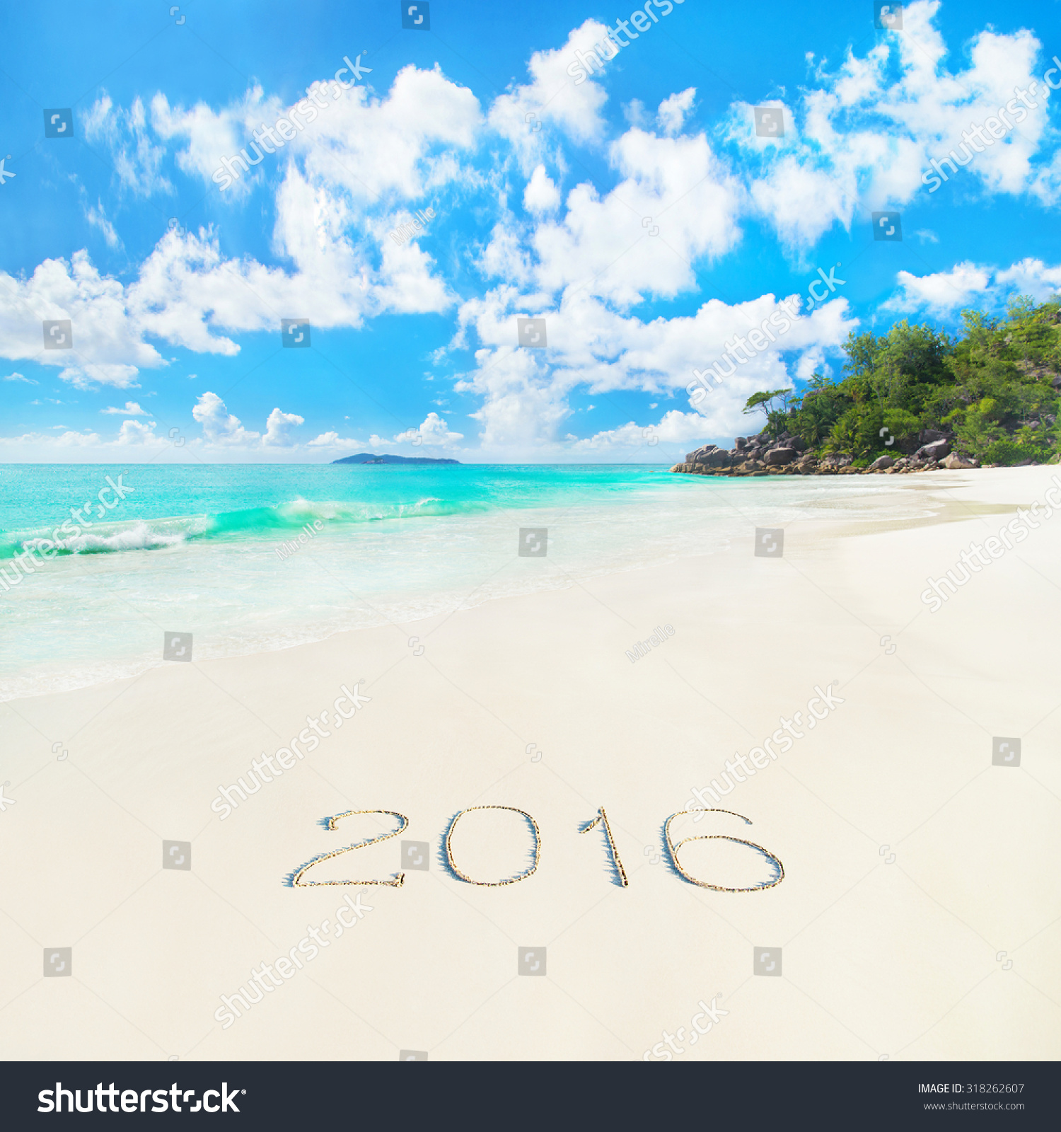 Tropical Beach Anse Georgette With 2016 Year Caption On ...