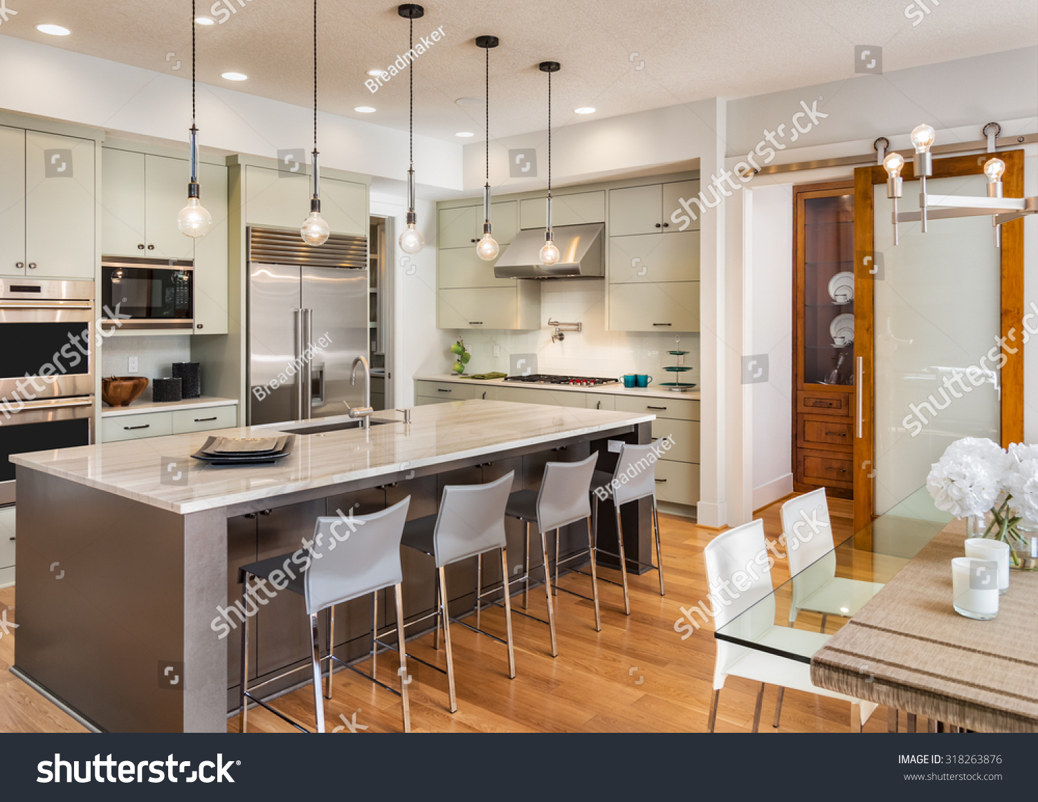 Beautiful Kitchen Interior New Luxury Home Stock Photo 318263876  Shutterstock
