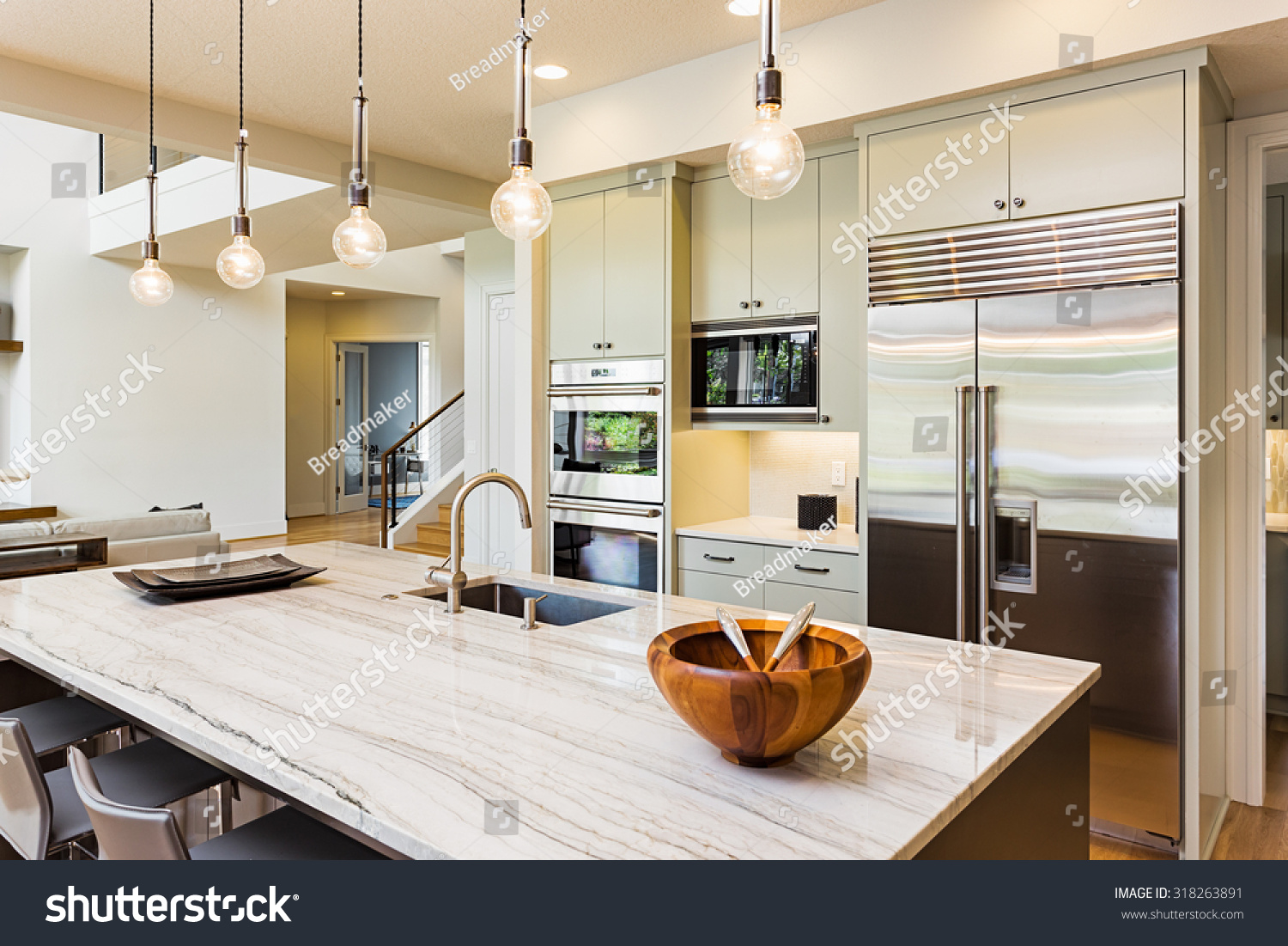 House Kitchen Kitchen House Kitchen Interior Island Sink Stock Photo 318263891