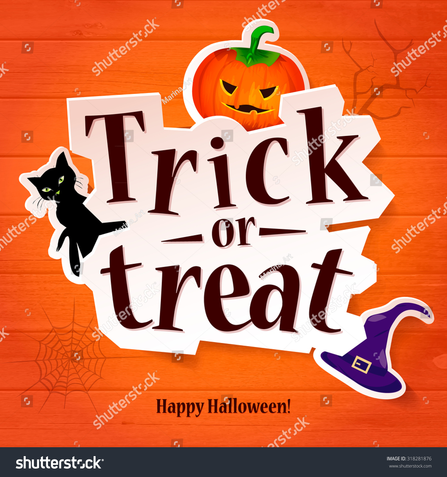 Amazing Happy Halloween Greeting Card Pumpkin Cat Stock Vector 318281876    Shutterstock